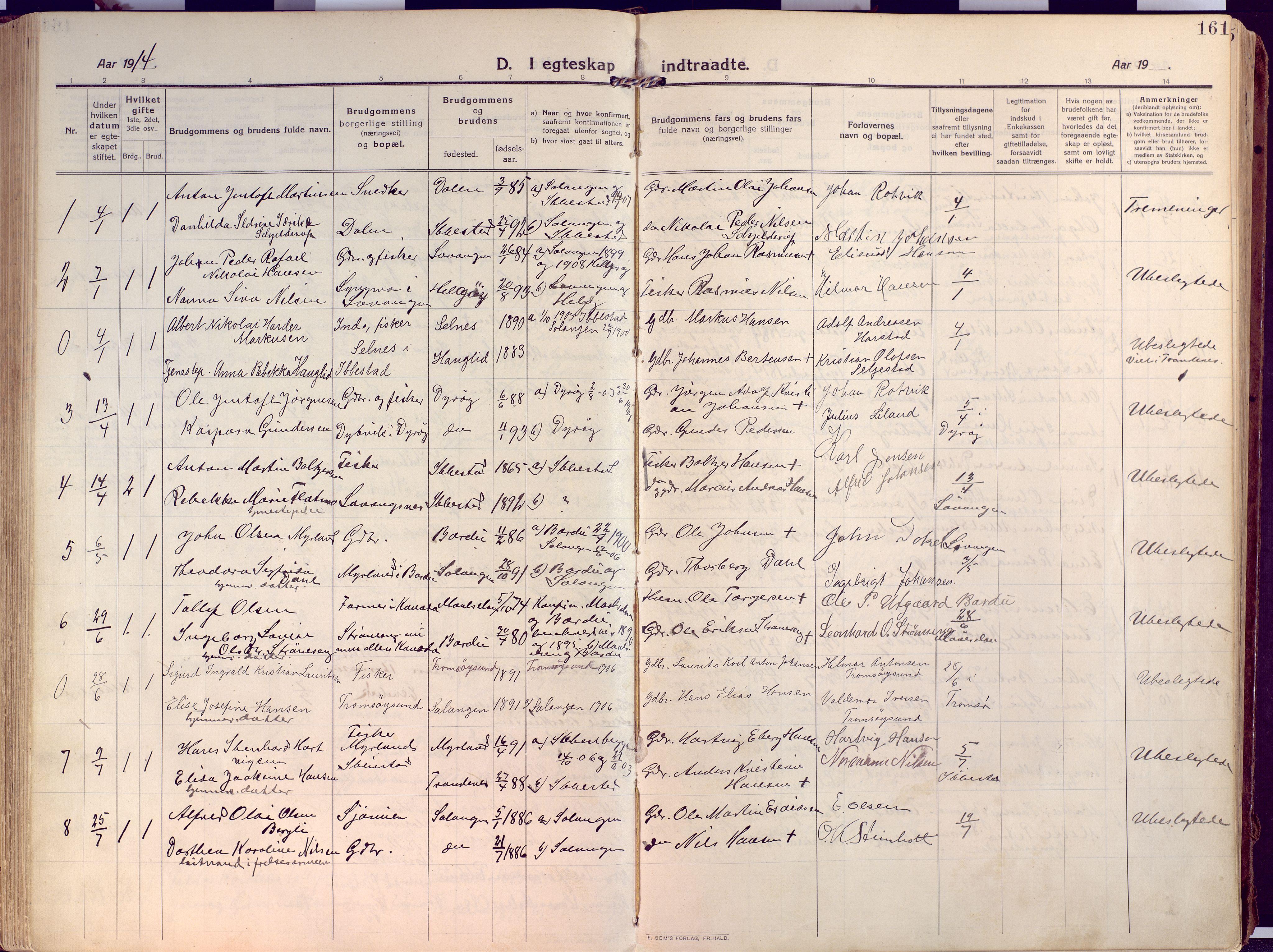 SATØ, Salangen sokneprestembete, Ministerialbok nr. 4, 1912-1927, s. 161