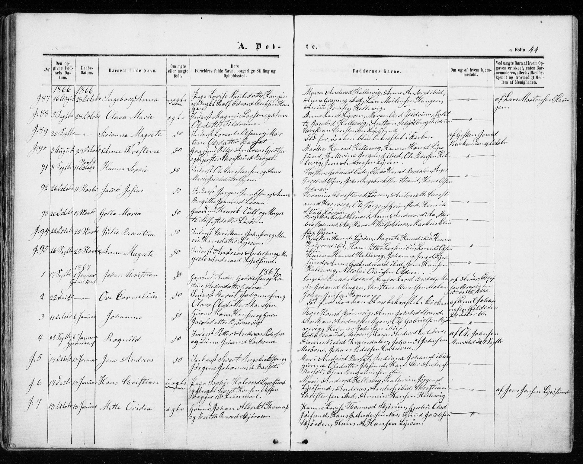 SAT, Ministerialprotokoller, klokkerbøker og fødselsregistre - Sør-Trøndelag, 655/L0678: Ministerialbok nr. 655A07, 1861-1873, s. 44