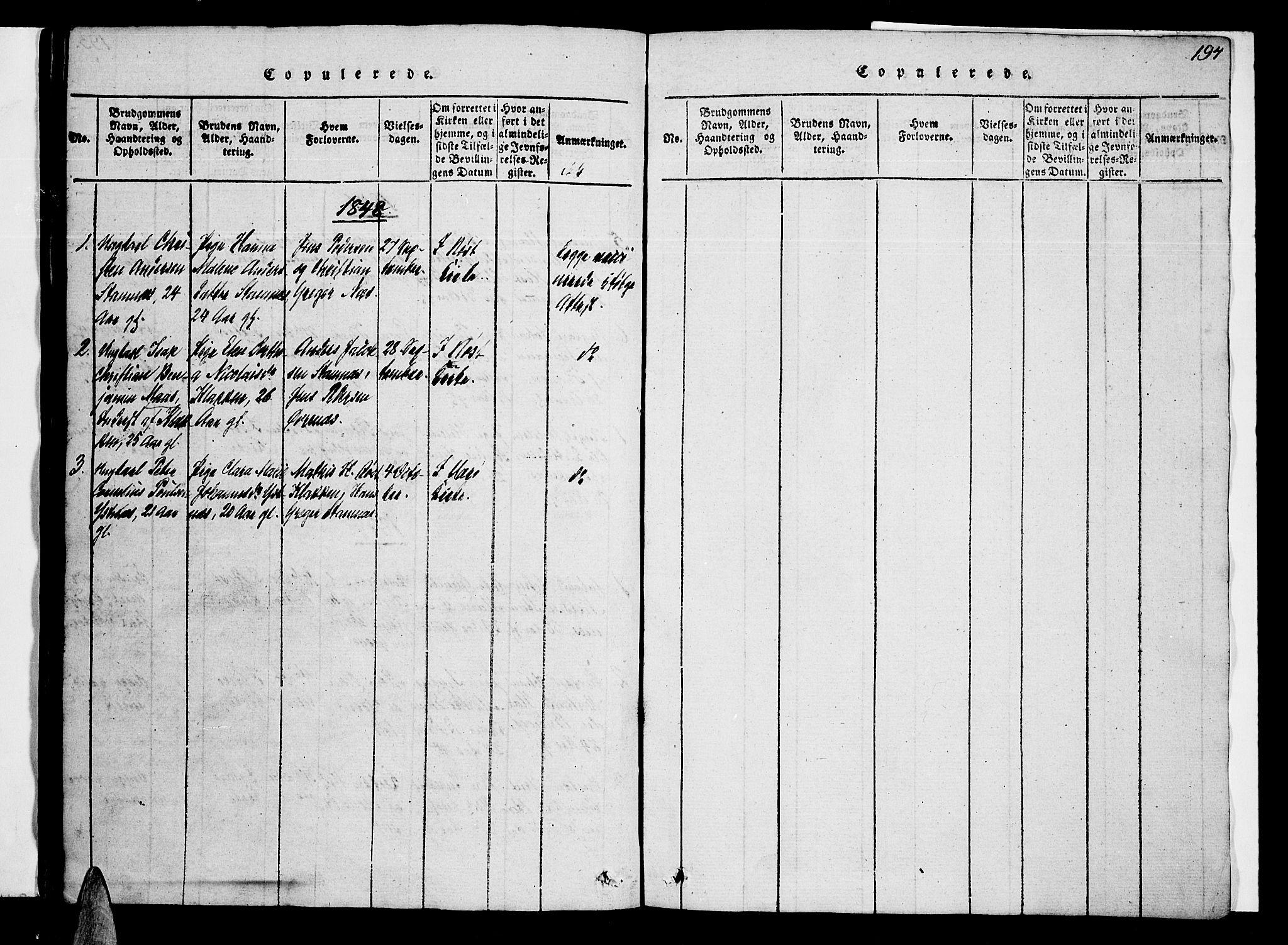 SAT, Ministerialprotokoller, klokkerbøker og fødselsregistre - Nordland, 807/L0120: Ministerialbok nr. 807A03, 1821-1848, s. 194