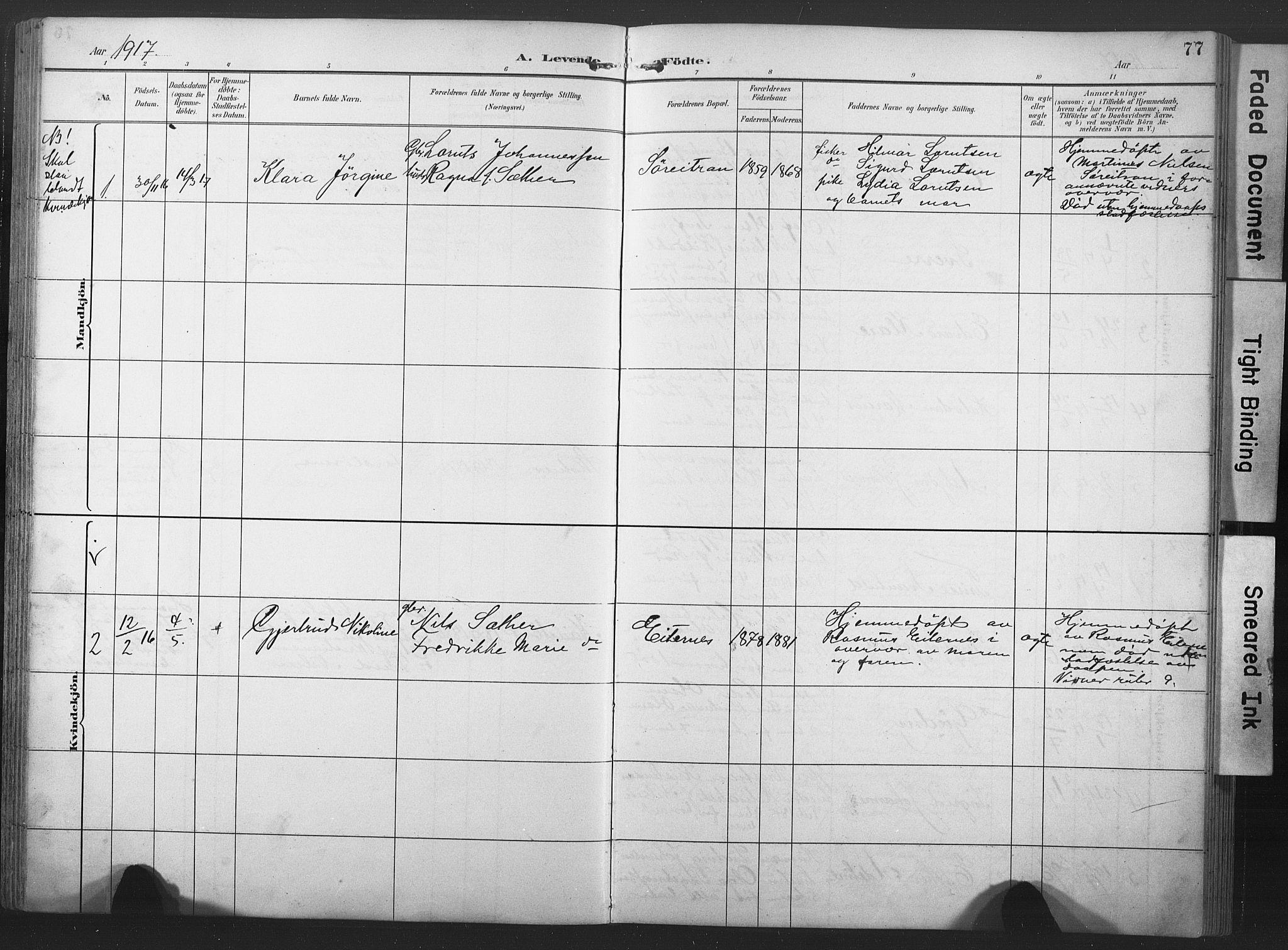SAT, Ministerialprotokoller, klokkerbøker og fødselsregistre - Nord-Trøndelag, 789/L0706: Klokkerbok nr. 789C01, 1888-1931, s. 77