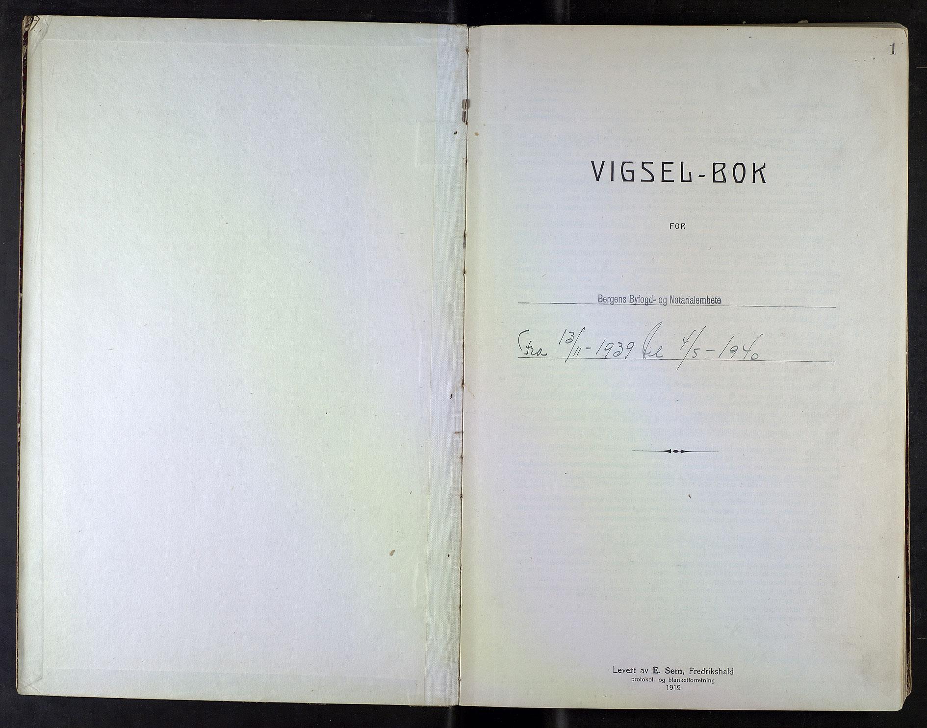 SAB, Bergen byfogd og byskriver*, 1939-1940, s. 1a