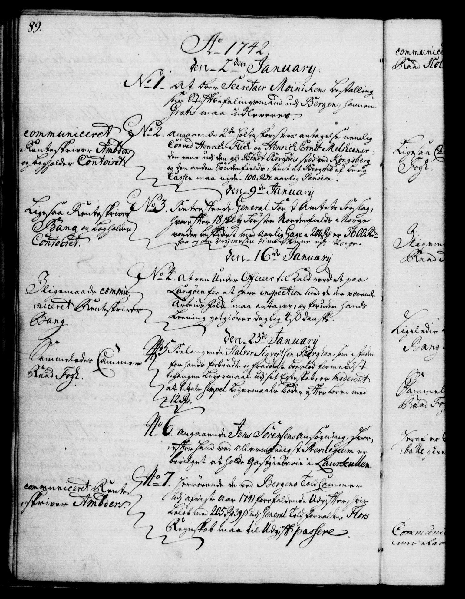RA, Rentekammeret, Kammerkanselliet, G/Gf/Gfb/L0004: Register til norske relasjons- og resolusjonsprotokoller (merket RK 52.99), 1736-1743, s. 89