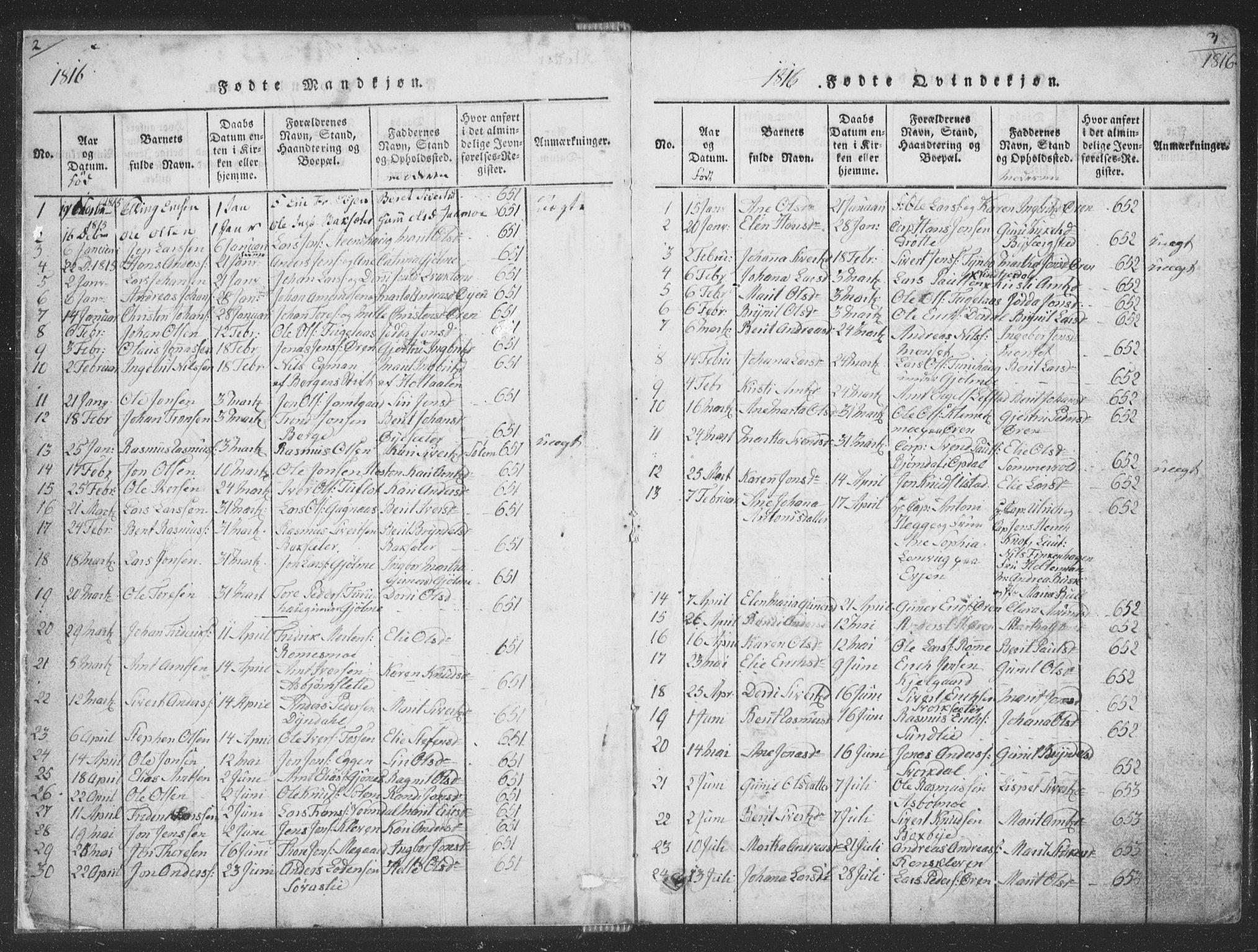 SAT, Ministerialprotokoller, klokkerbøker og fødselsregistre - Sør-Trøndelag, 668/L0816: Klokkerbok nr. 668C05, 1816-1893, s. 2-3