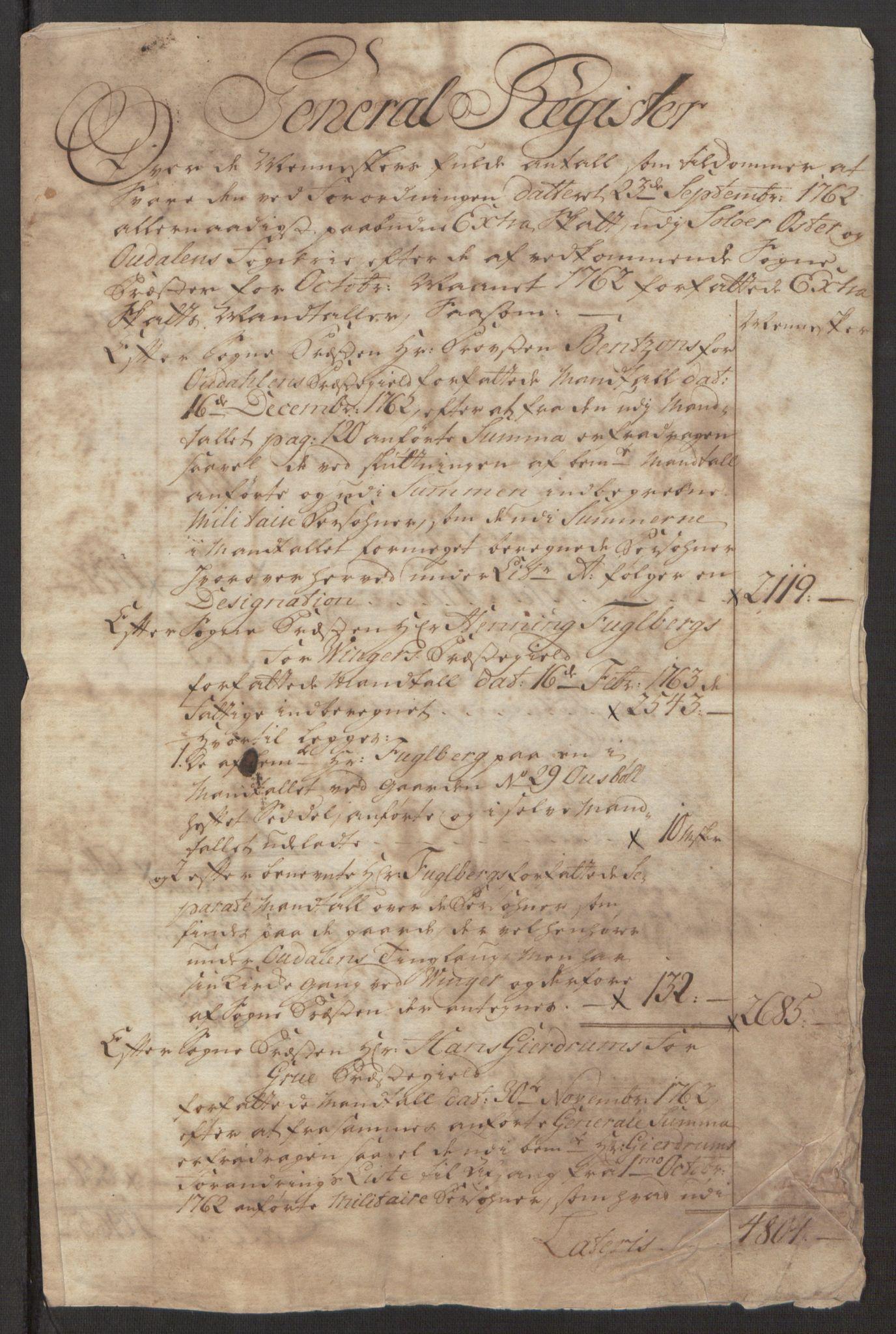 RA, Rentekammeret inntil 1814, Reviderte regnskaper, Fogderegnskap, R15/L1014: Ekstraskatten Østerdal, 1762-1764, s. 16
