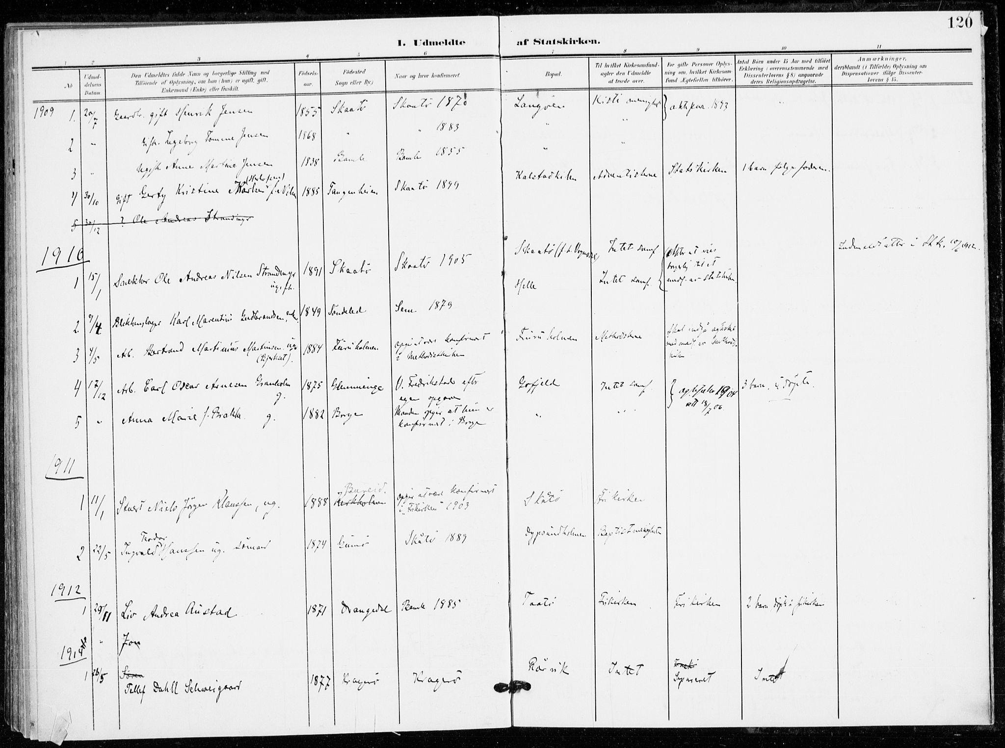 SAKO, Skåtøy kirkebøker, F/Fa/L0005: Ministerialbok nr. I 5, 1901-1923, s. 120