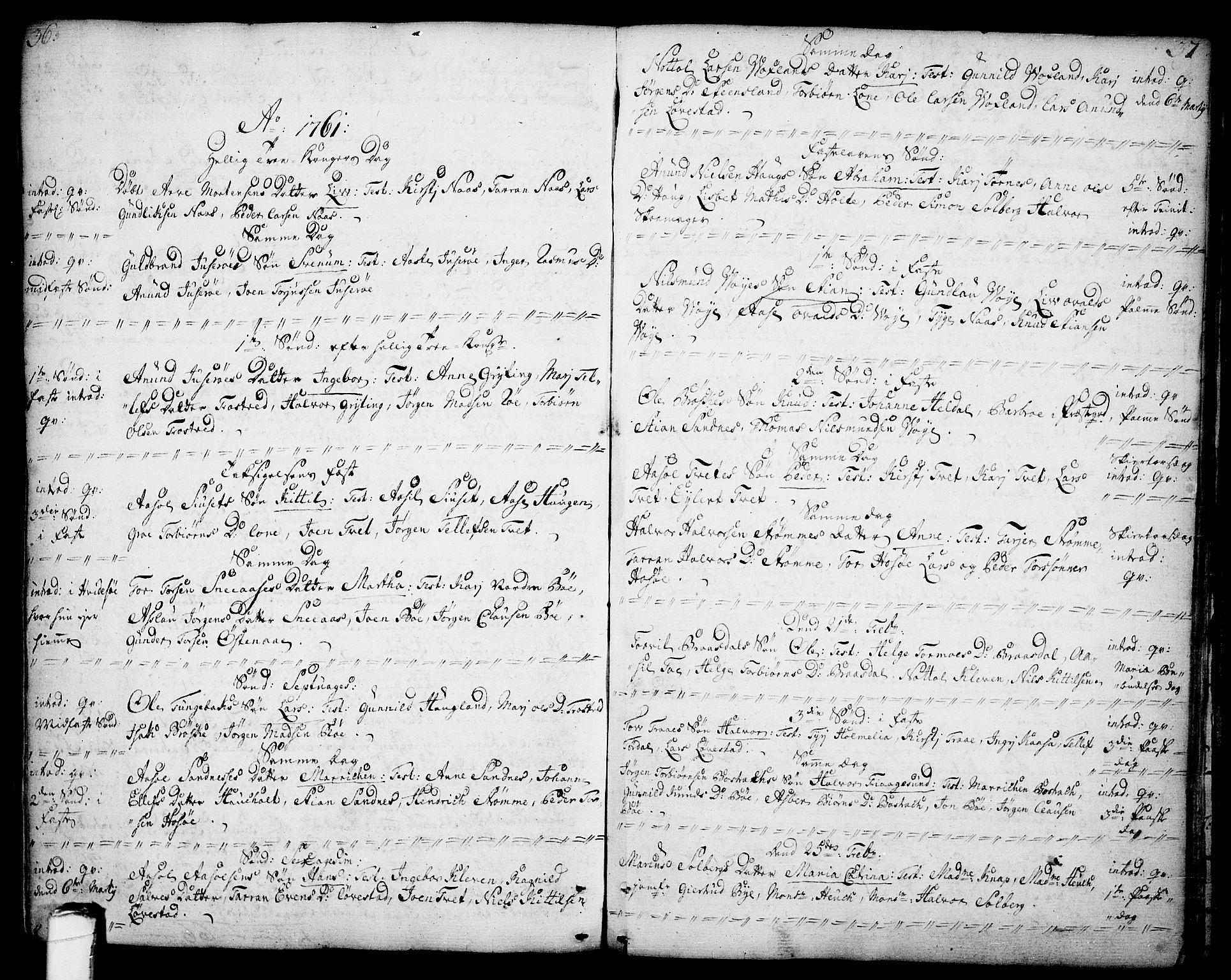 SAKO, Drangedal kirkebøker, F/Fa/L0001: Ministerialbok nr. 1, 1697-1767, s. 36-37