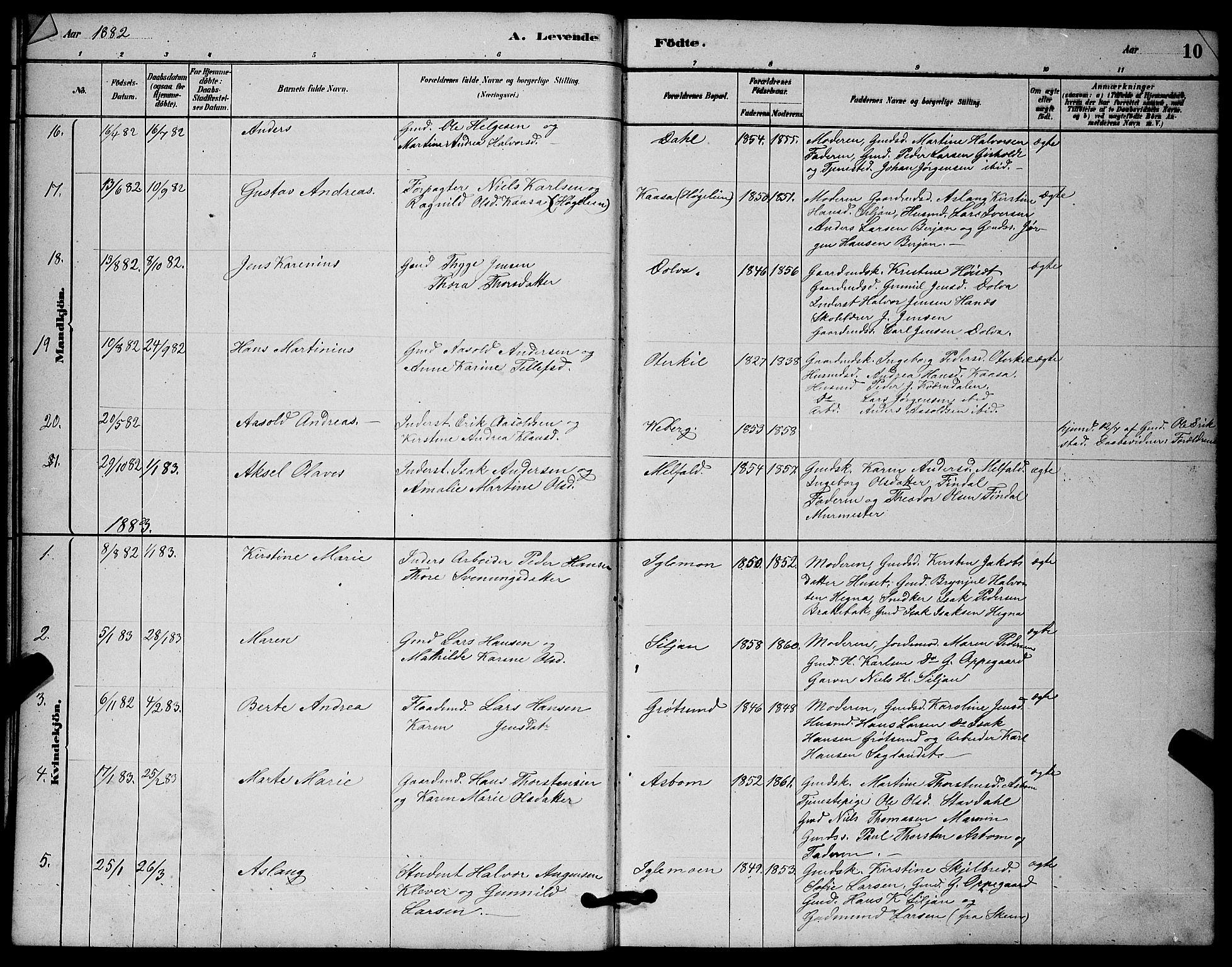 SAKO, Solum kirkebøker, G/Gb/L0003: Klokkerbok nr. II 3, 1880-1898, s. 10