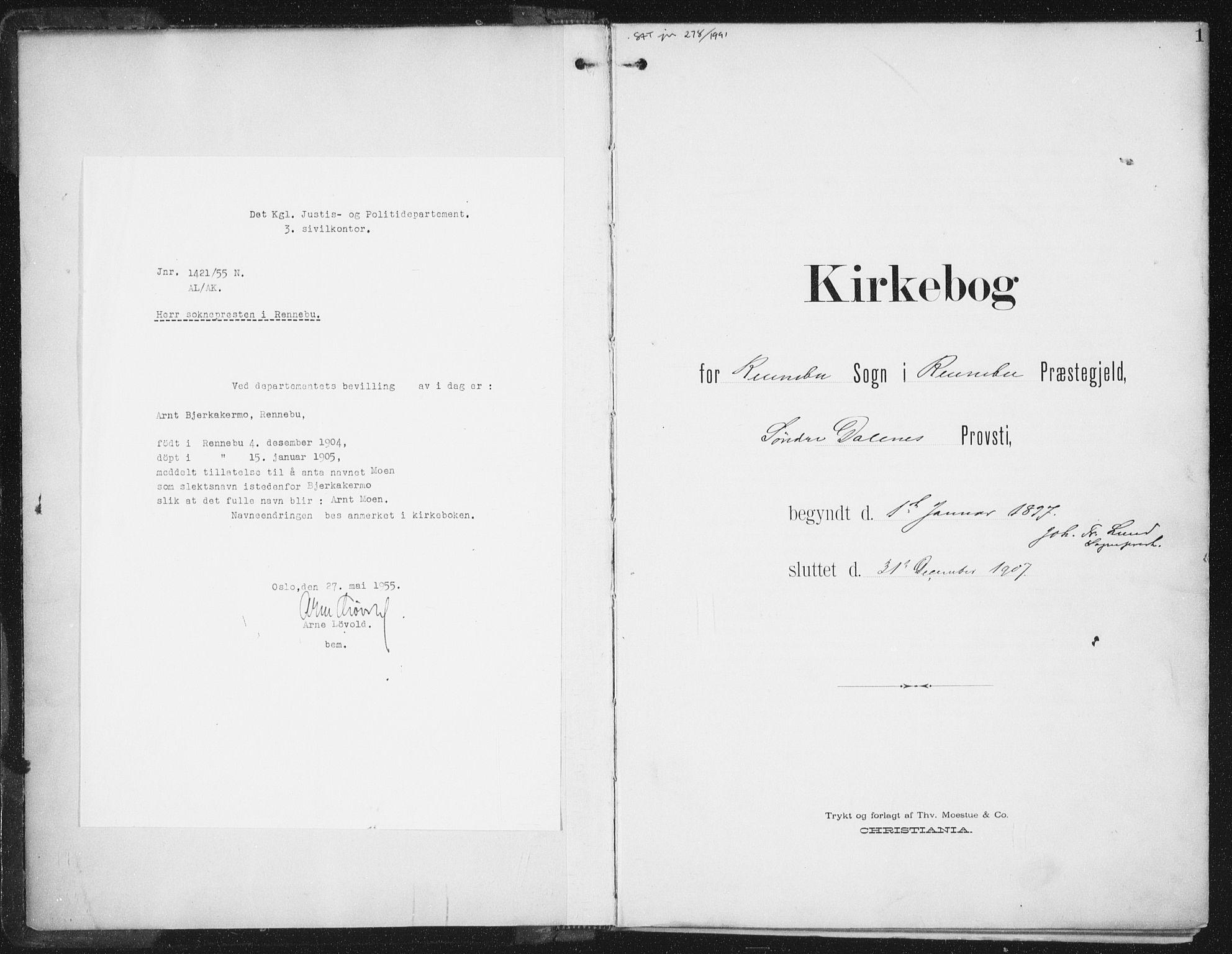 SAT, Ministerialprotokoller, klokkerbøker og fødselsregistre - Sør-Trøndelag, 674/L0872: Ministerialbok nr. 674A04, 1897-1907, s. 1