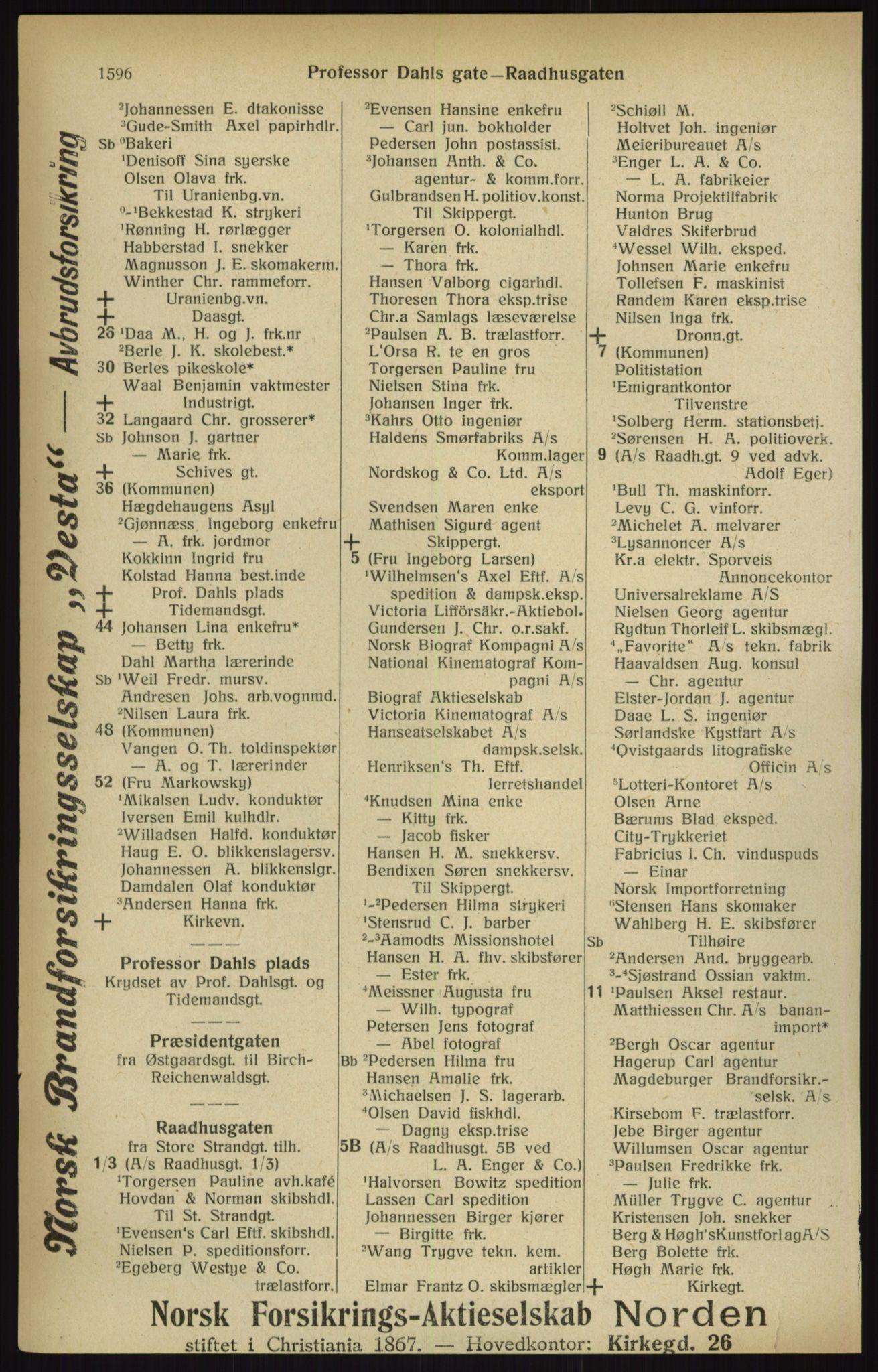RA, Kristiania adressebok (publikasjon)*, 1916, s. 1596