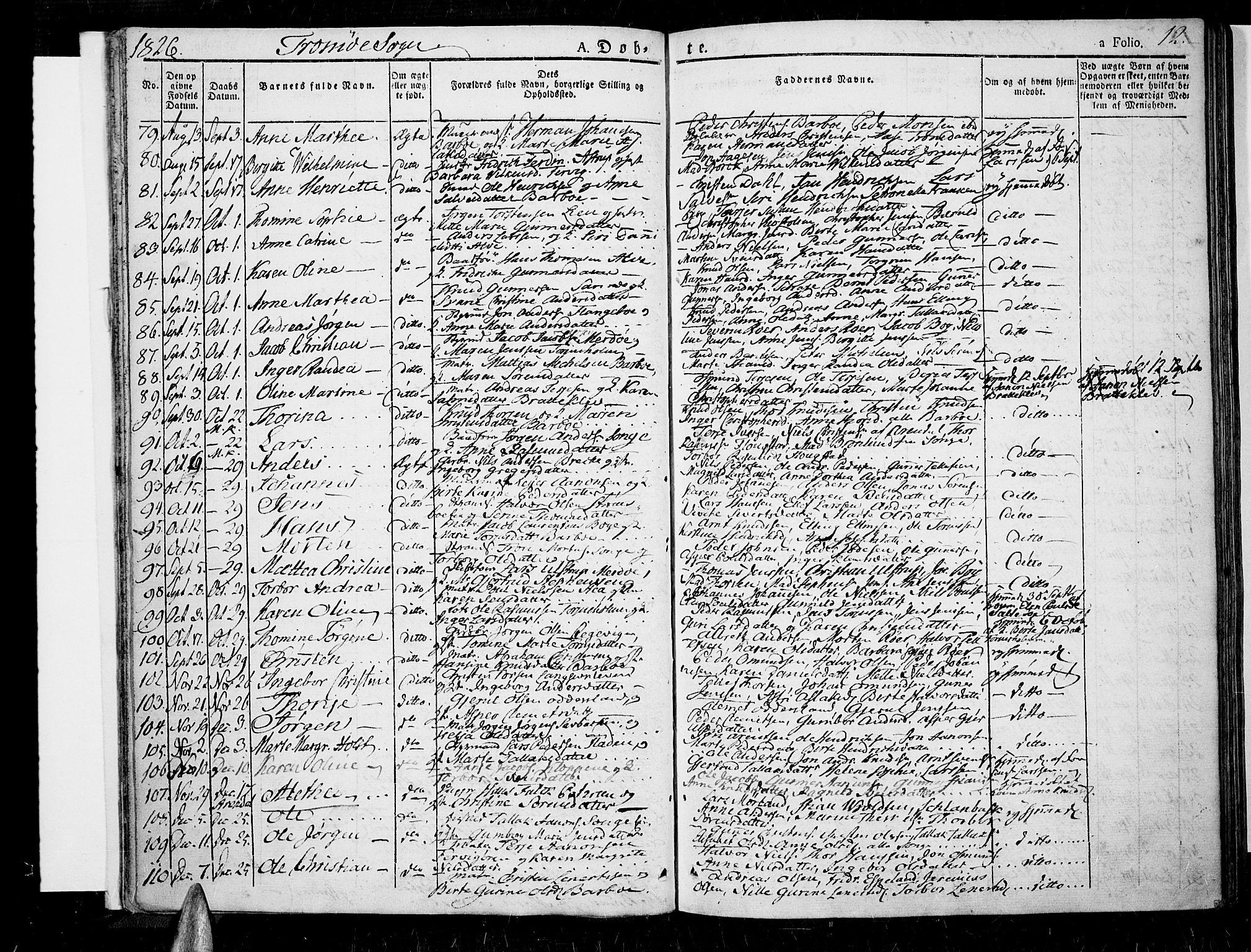 SAK, Tromøy sokneprestkontor, F/Fa/L0003: Ministerialbok nr. A 3, 1825-1837, s. 12