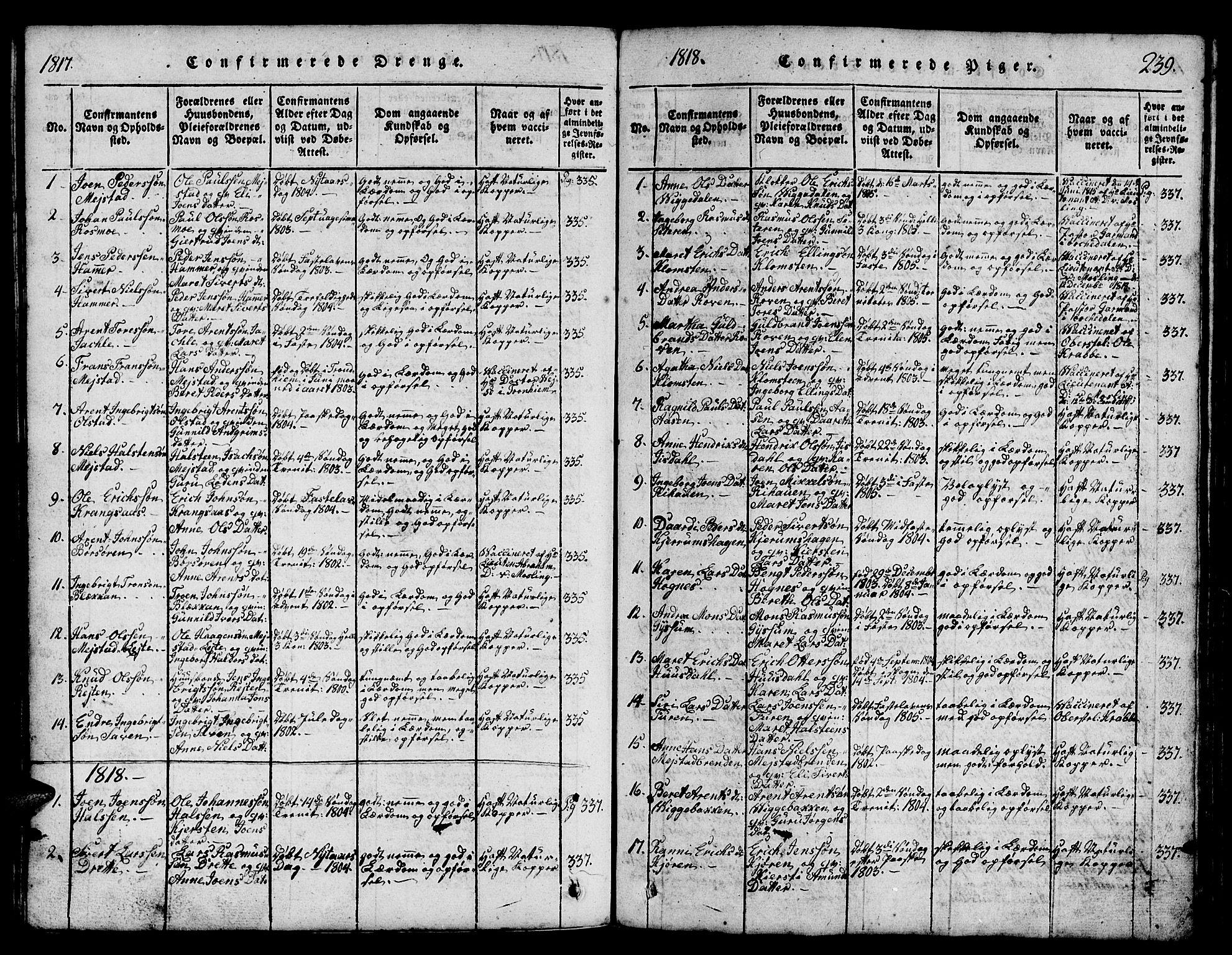 SAT, Ministerialprotokoller, klokkerbøker og fødselsregistre - Sør-Trøndelag, 665/L0776: Klokkerbok nr. 665C01, 1817-1837, s. 239