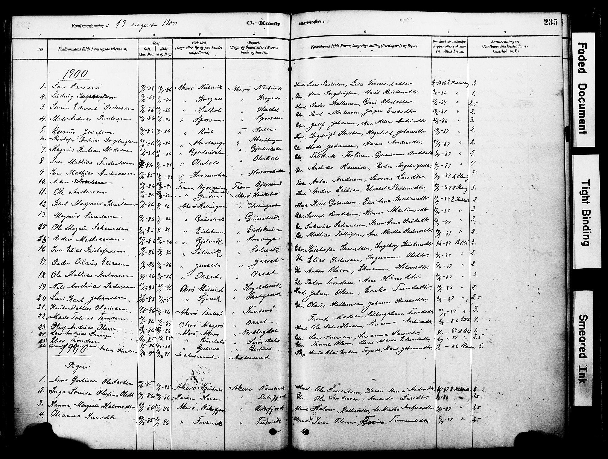 SAT, Ministerialprotokoller, klokkerbøker og fødselsregistre - Møre og Romsdal, 560/L0721: Ministerialbok nr. 560A05, 1878-1917, s. 235