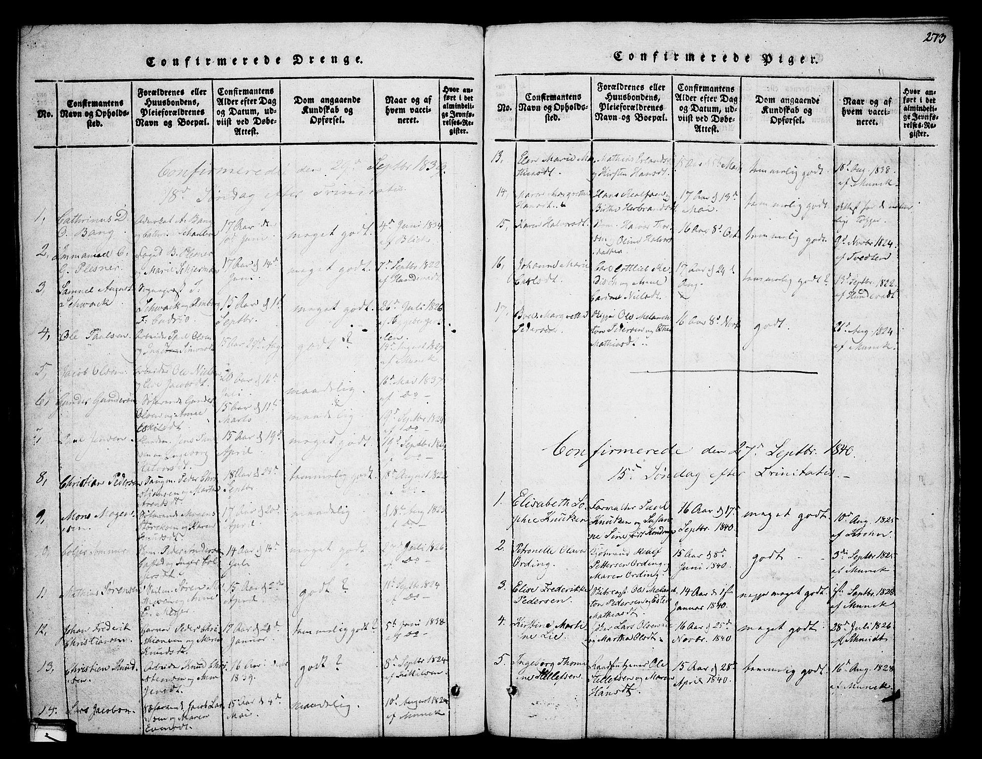SAKO, Skien kirkebøker, F/Fa/L0005: Ministerialbok nr. 5, 1814-1843, s. 273