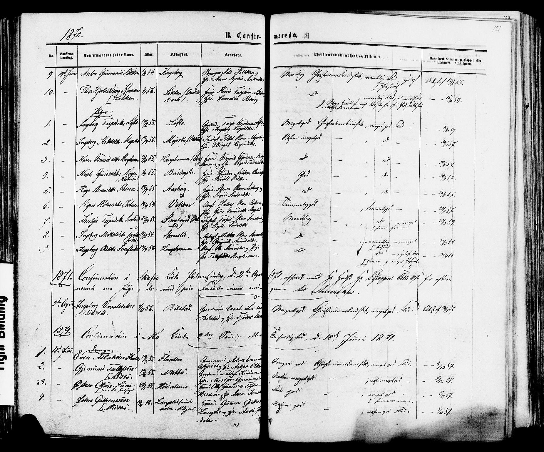 SAKO, Mo kirkebøker, F/Fa/L0006: Ministerialbok nr. I 6, 1865-1885, s. 121