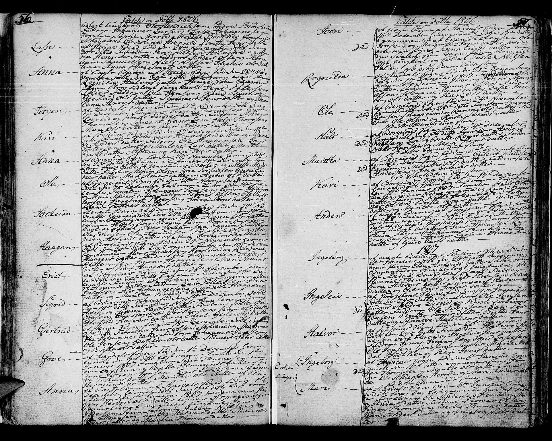 SAB, Lærdal sokneprestembete, Ministerialbok nr. A 4, 1805-1821, s. 56-57