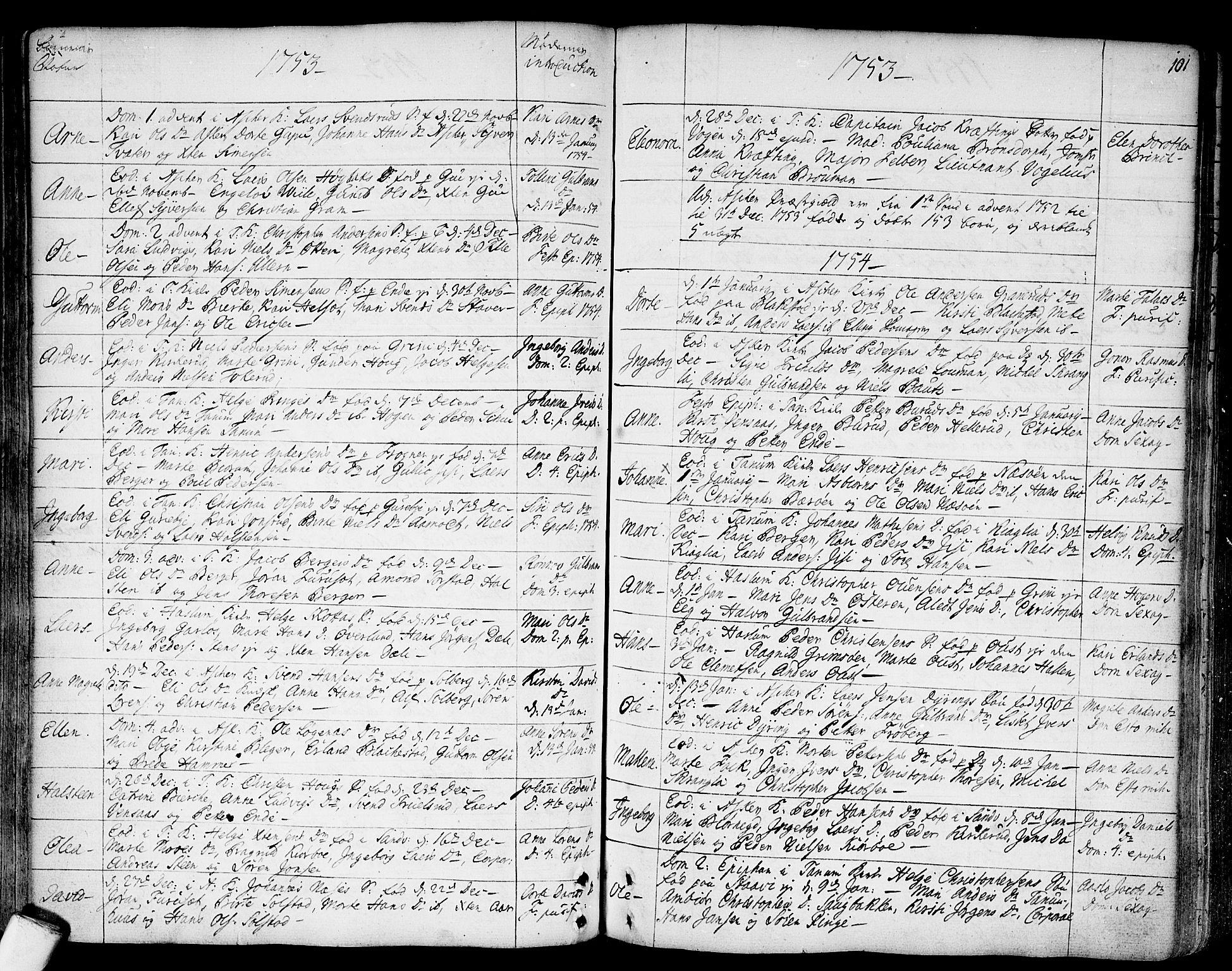 SAO, Asker prestekontor Kirkebøker, F/Fa/L0002: Ministerialbok nr. I 2, 1733-1766, s. 101