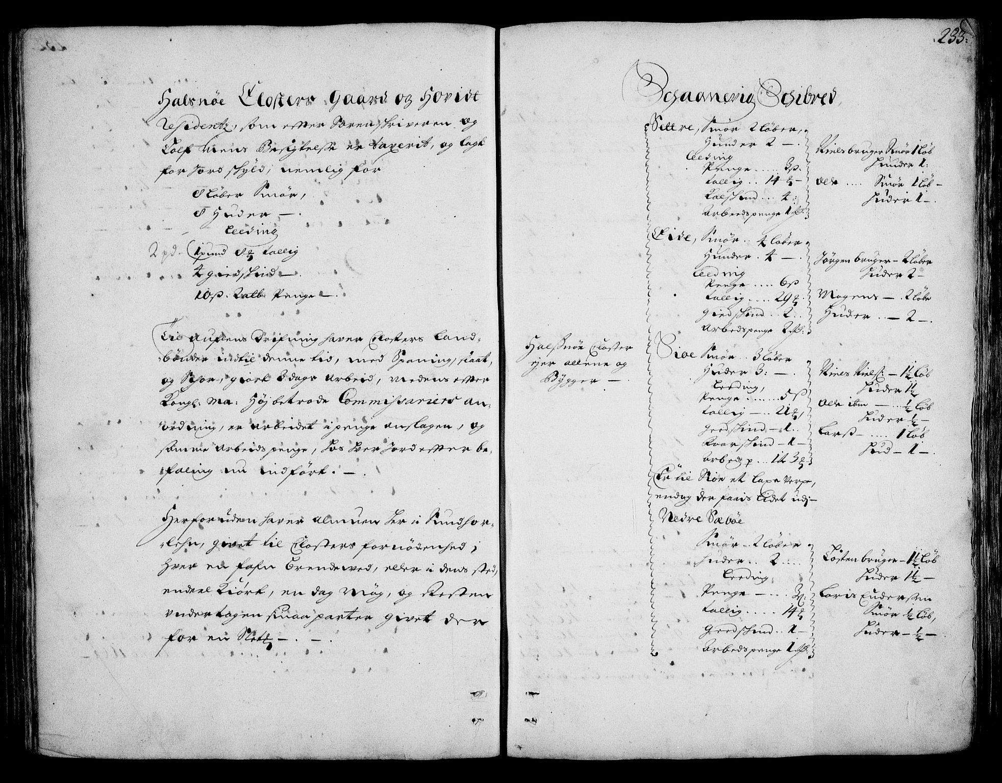 RA, Rentekammeret inntil 1814, Realistisk ordnet avdeling, On/L0002: [Jj 3]: Besiktigelsesforretninger over Halsnøy klosters gods, 1659-1703, s. 232b-233a