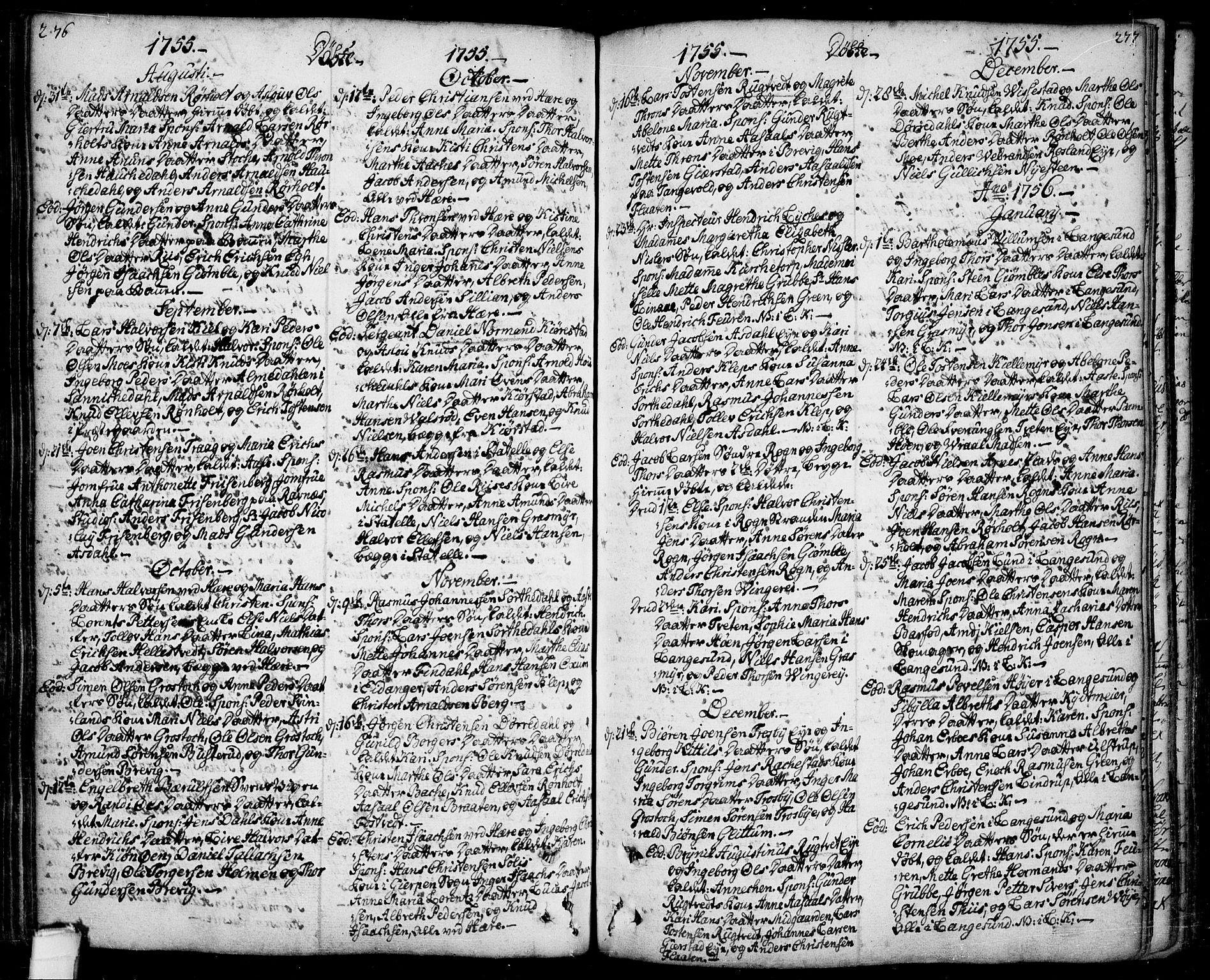 SAKO, Bamble kirkebøker, F/Fa/L0001: Ministerialbok nr. I 1, 1702-1774, s. 276-277