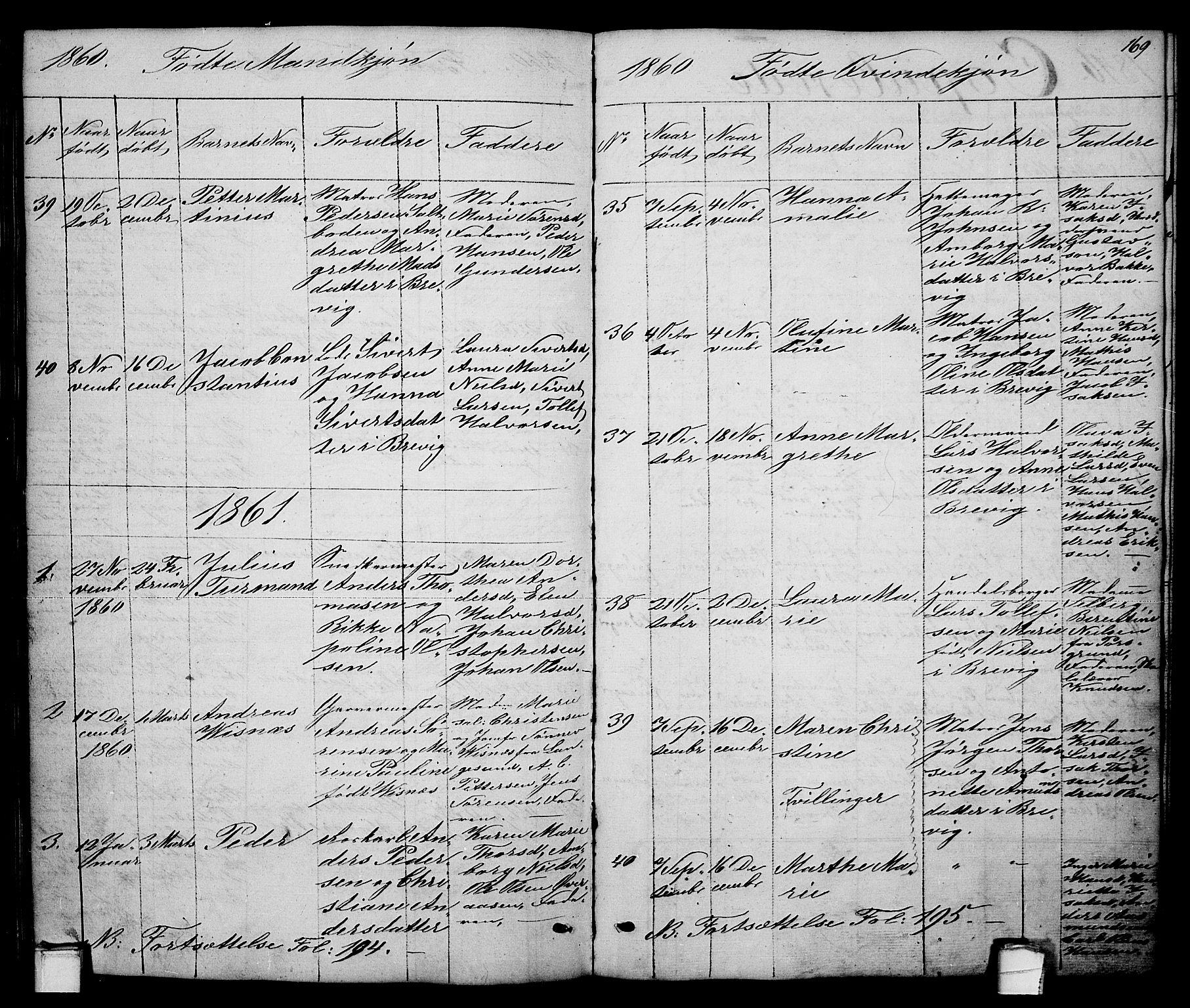 SAKO, Brevik kirkebøker, G/Ga/L0002: Klokkerbok nr. 2, 1846-1865, s. 169