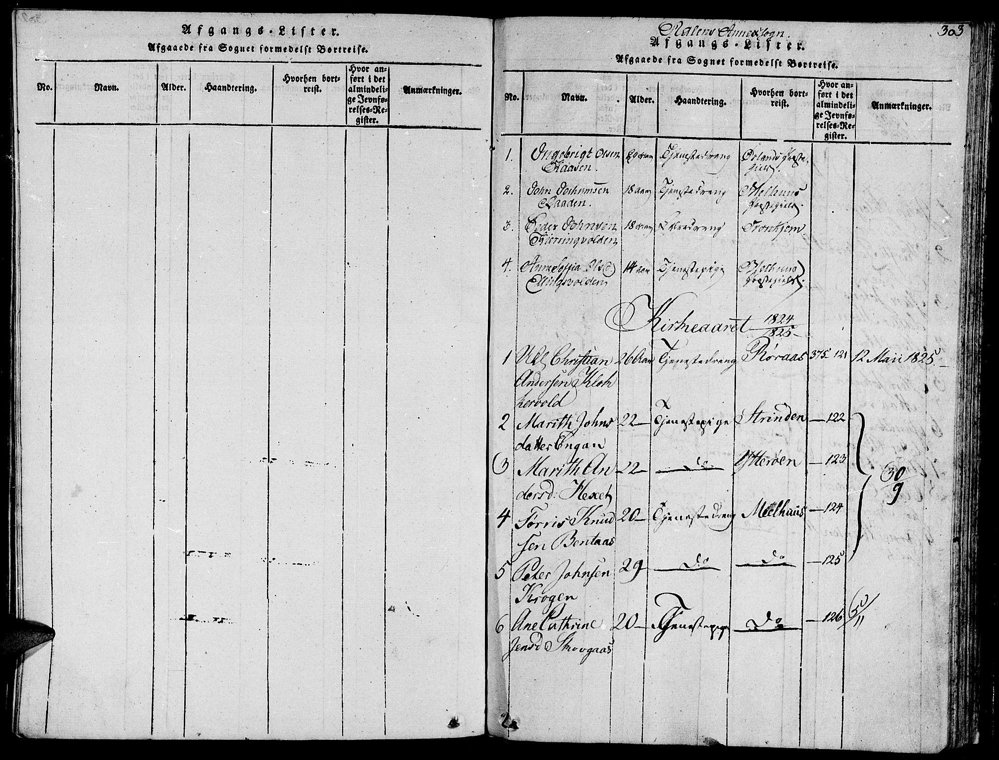 SAT, Ministerialprotokoller, klokkerbøker og fødselsregistre - Sør-Trøndelag, 685/L0956: Ministerialbok nr. 685A03 /3, 1817-1829, s. 303