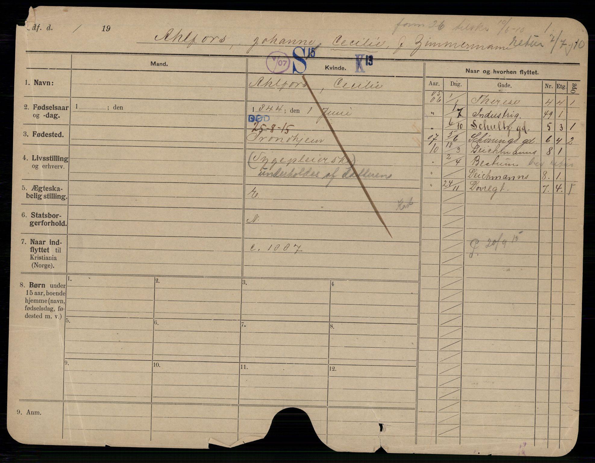 SAO, Oslo folkeregister, Registerkort, G/Gb/L0020: Kvinner, 1915