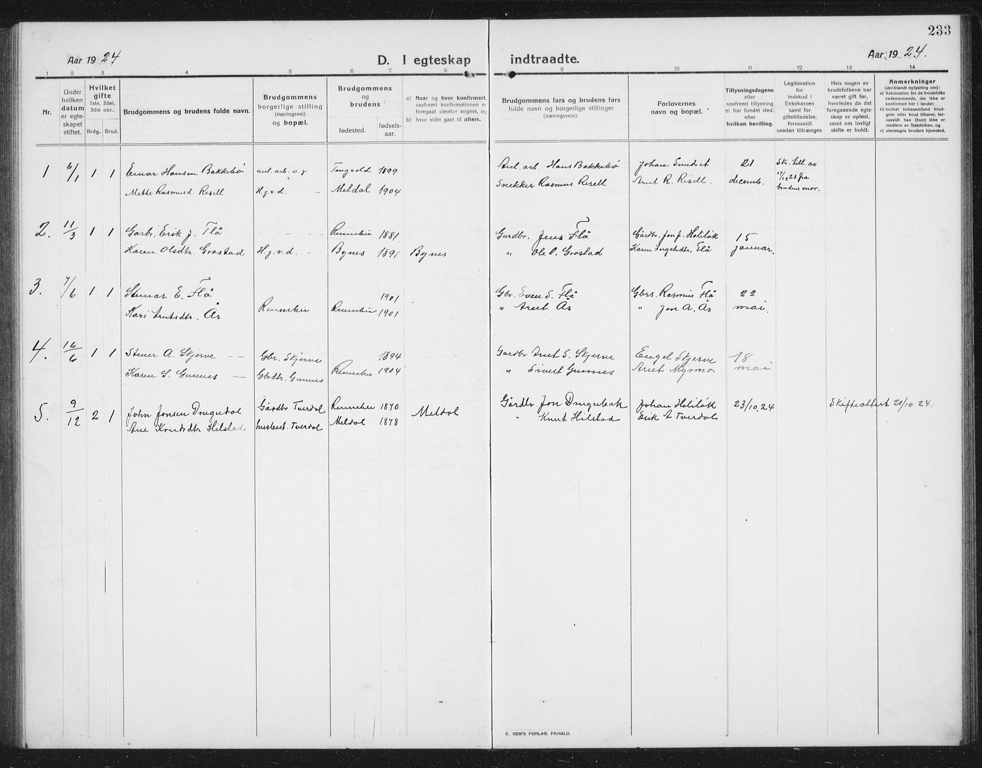 SAT, Ministerialprotokoller, klokkerbøker og fødselsregistre - Sør-Trøndelag, 674/L0877: Klokkerbok nr. 674C04, 1913-1940, s. 233