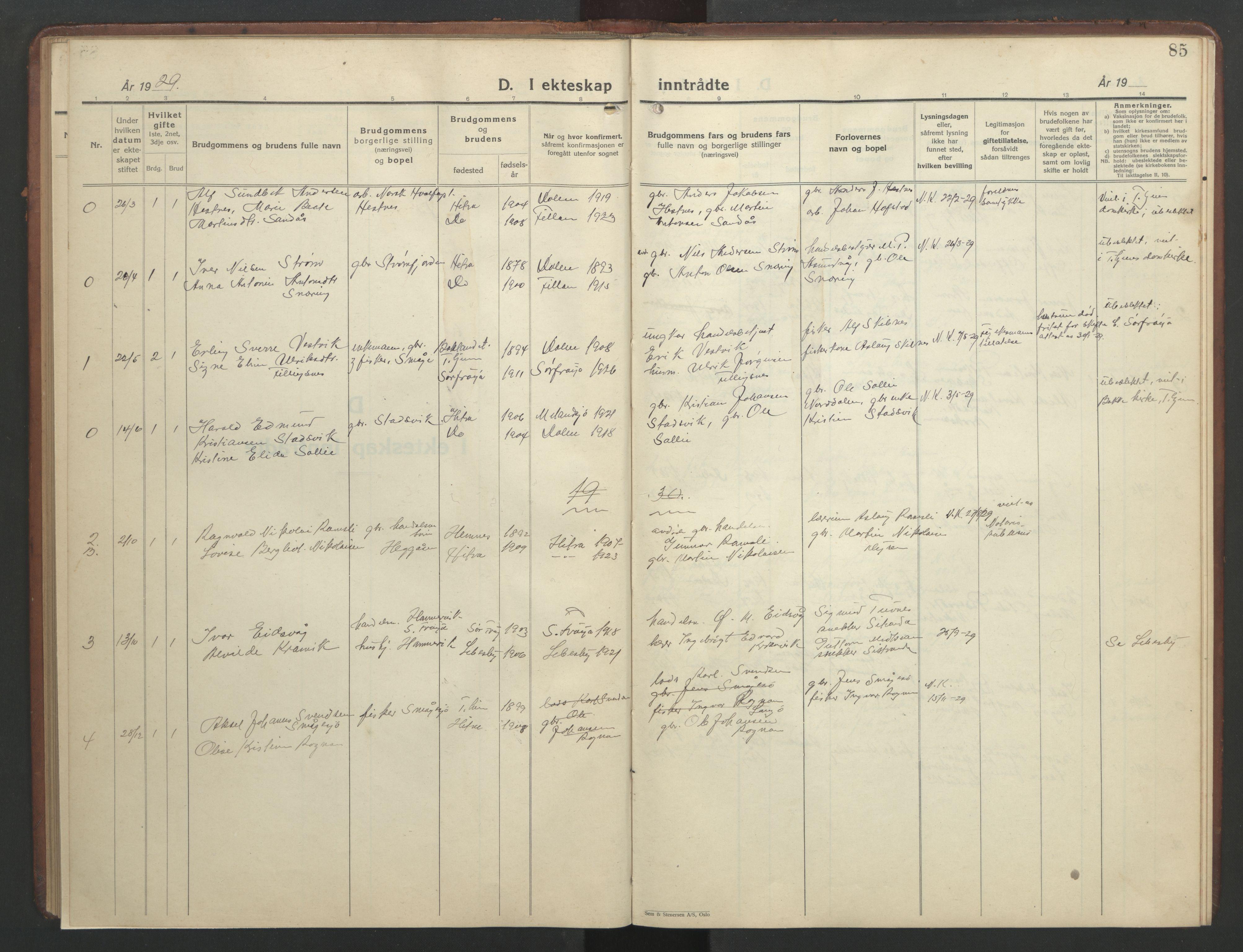 SAT, Ministerialprotokoller, klokkerbøker og fødselsregistre - Sør-Trøndelag, 634/L0544: Klokkerbok nr. 634C06, 1927-1948, s. 85