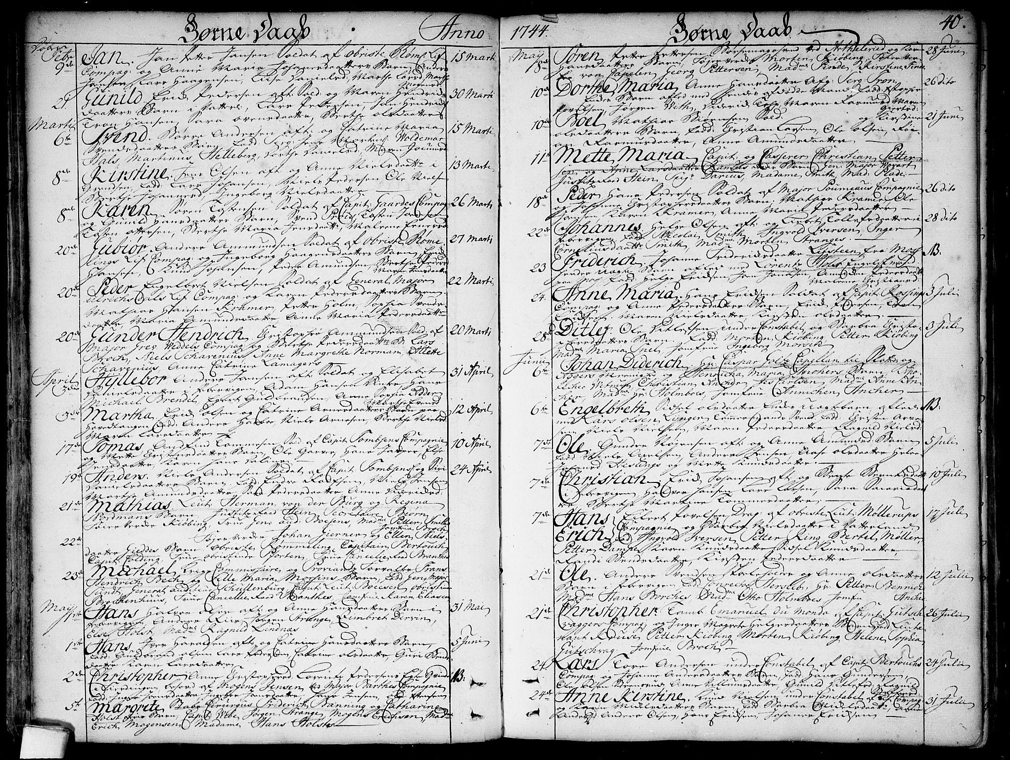 SAO, Garnisonsmenigheten Kirkebøker, F/Fa/L0001: Ministerialbok nr. 1, 1734-1756, s. 40