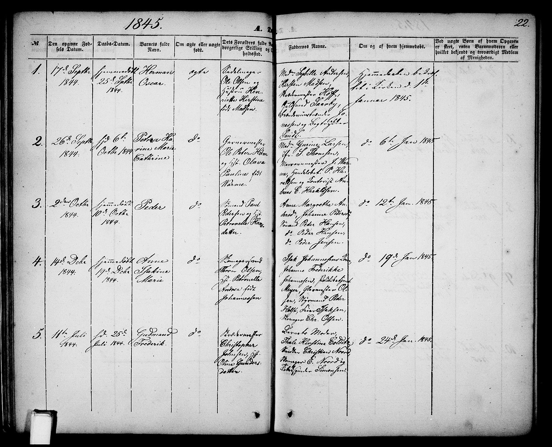 SAKO, Skien kirkebøker, G/Ga/L0004: Klokkerbok nr. 4, 1843-1867, s. 22