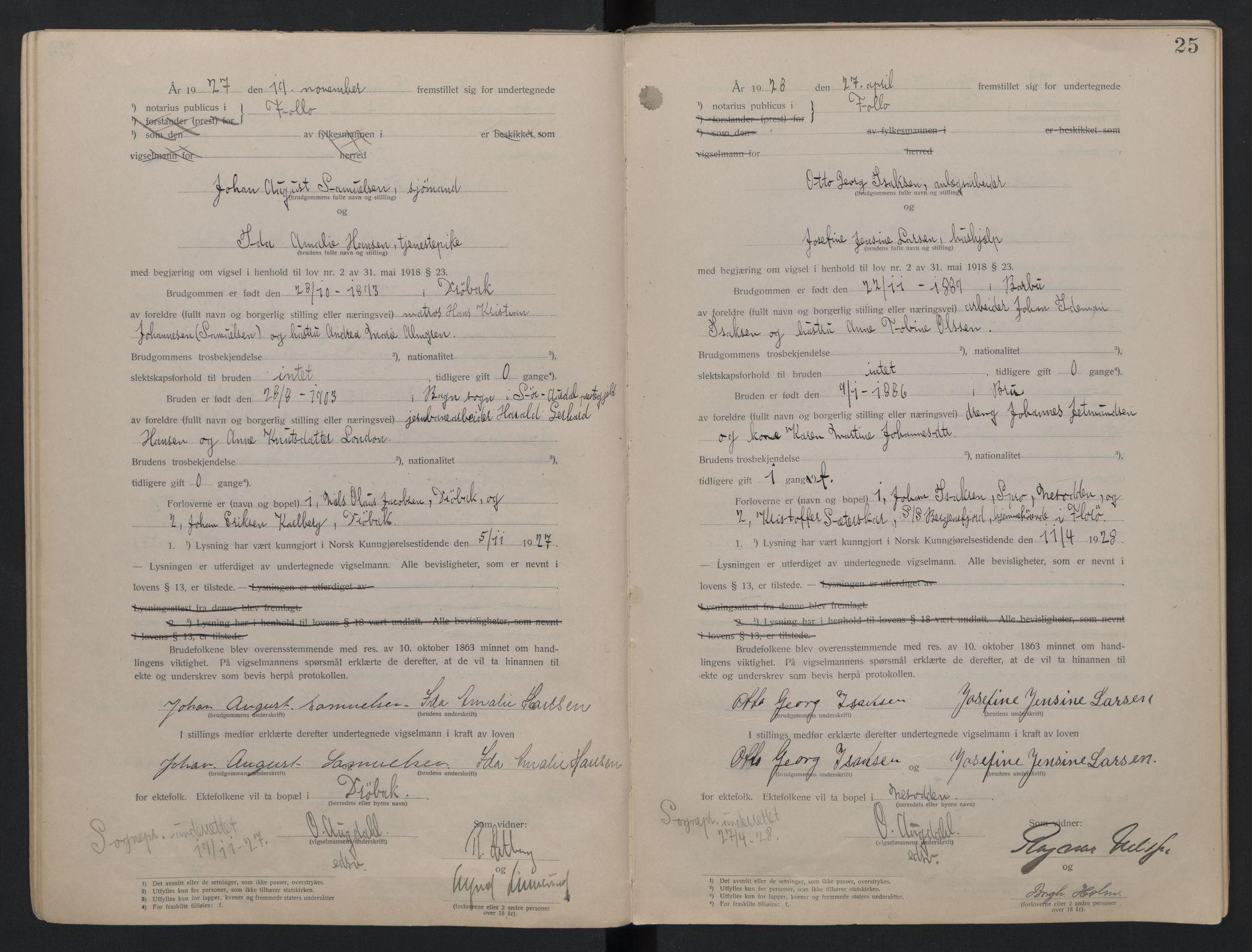 SAO, Follo sorenskriveri, L/La/Lab/L0001: Vigselsbok, 1920-1942, s. 25
