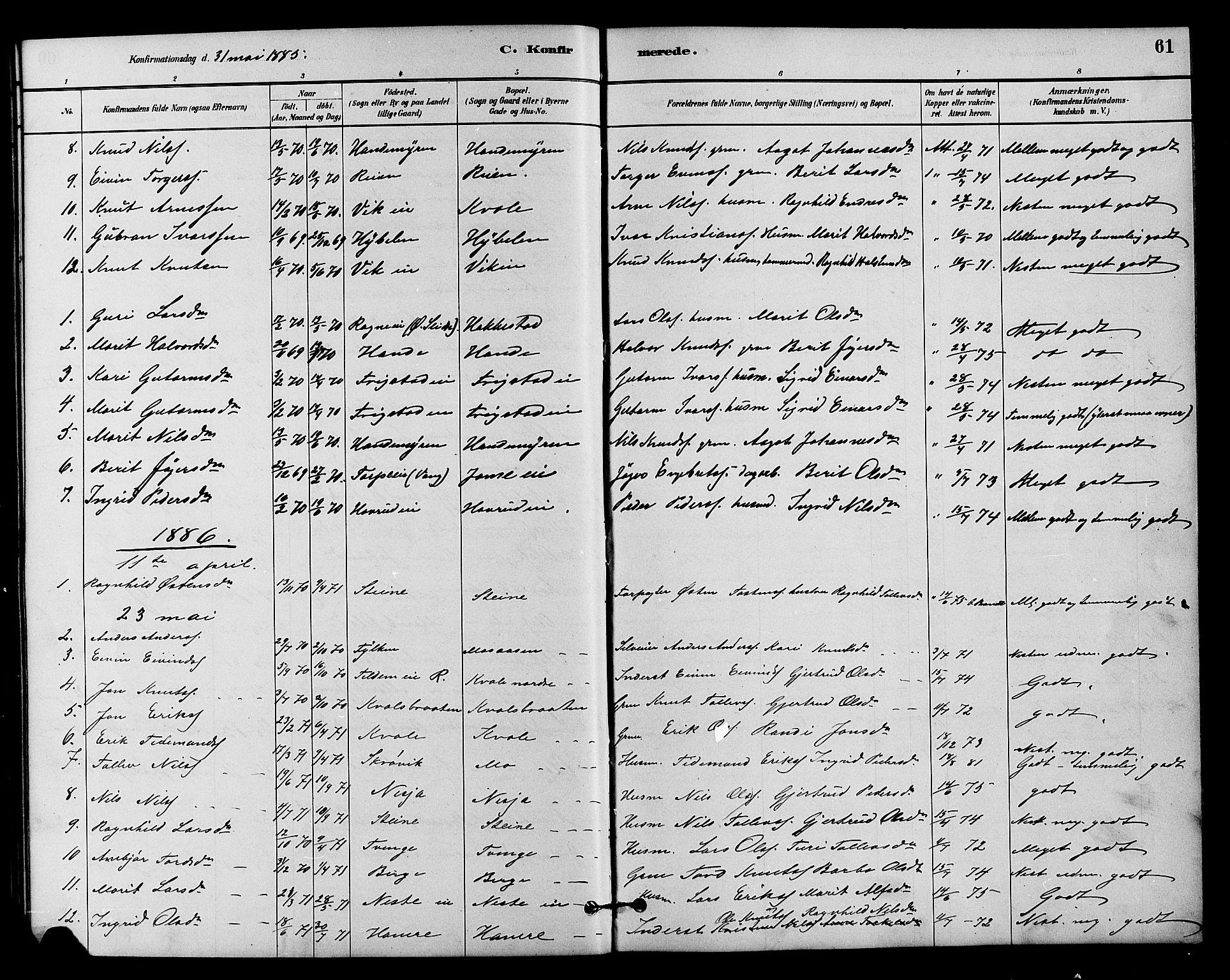 SAH, Vestre Slidre prestekontor, Klokkerbok nr. 4, 1881-1912, s. 61