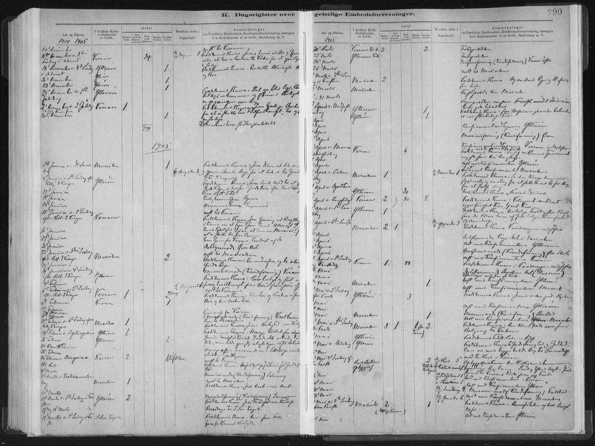 SAT, Ministerialprotokoller, klokkerbøker og fødselsregistre - Nord-Trøndelag, 722/L0220: Ministerialbok nr. 722A07, 1881-1908, s. 290