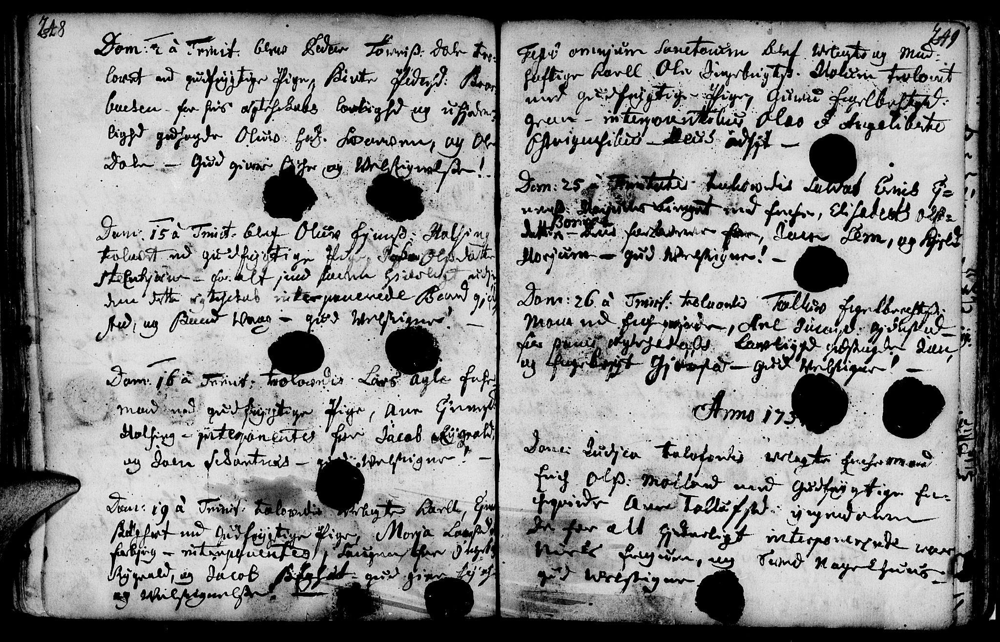 SAT, Ministerialprotokoller, klokkerbøker og fødselsregistre - Nord-Trøndelag, 749/L0467: Ministerialbok nr. 749A01, 1733-1787, s. 248-249