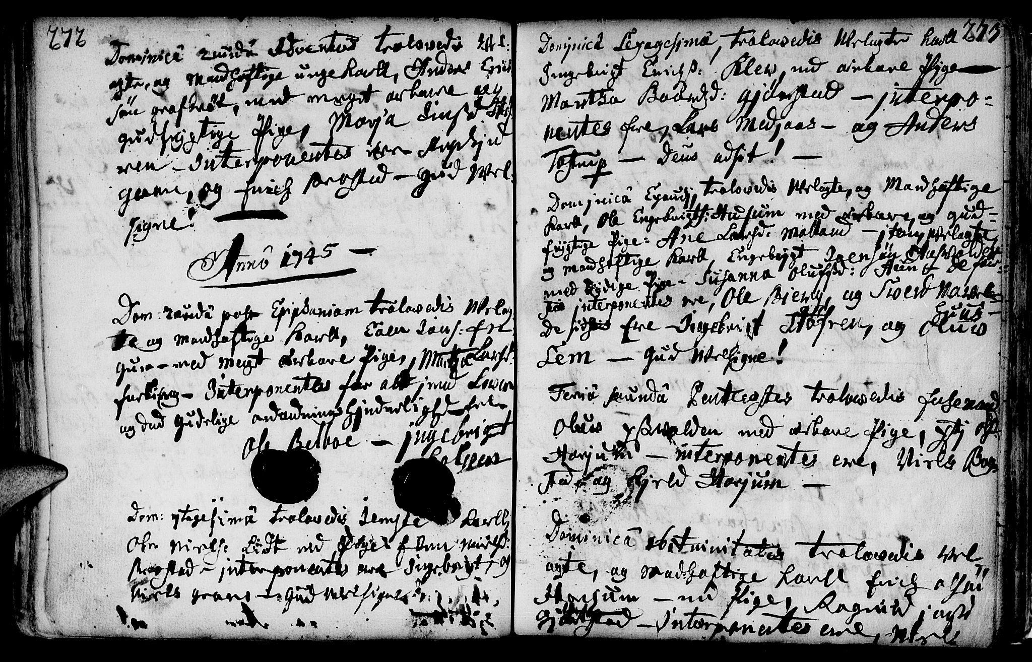 SAT, Ministerialprotokoller, klokkerbøker og fødselsregistre - Nord-Trøndelag, 749/L0467: Ministerialbok nr. 749A01, 1733-1787, s. 272-273