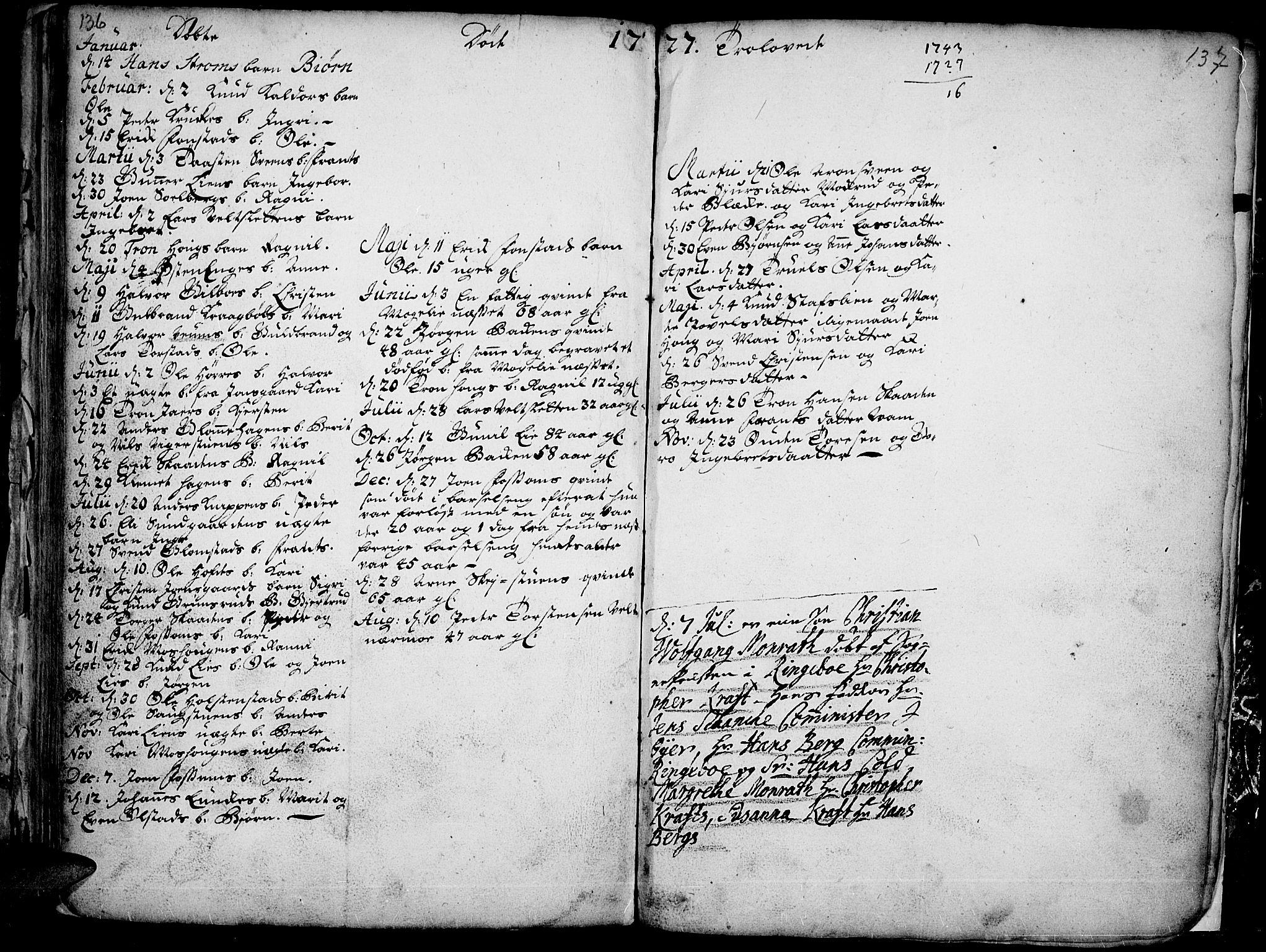 SAH, Øyer prestekontor, Ministerialbok nr. 1, 1671-1727, s. 136-137