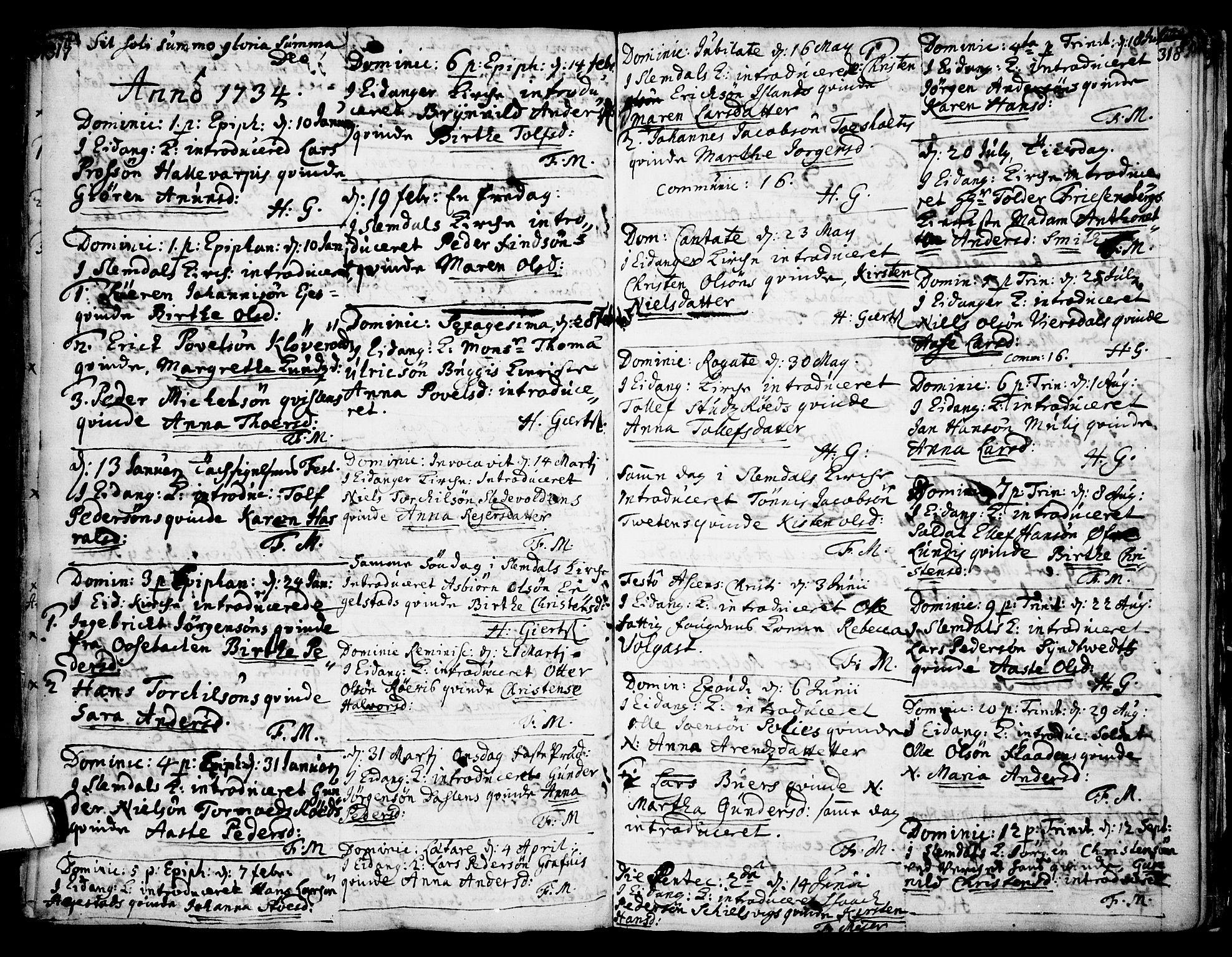 SAKO, Eidanger kirkebøker, F/Fa/L0004: Ministerialbok nr. 4, 1733-1759, s. 317-318