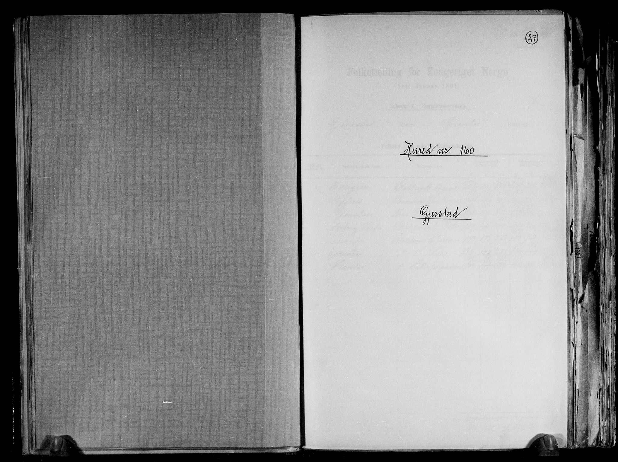 RA, Folketelling 1891 for 0911 Gjerstad herred, 1891, s. 1