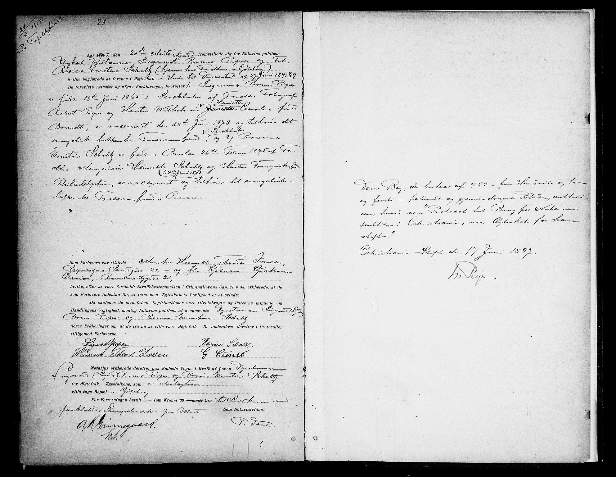 SAO, Oslo byfogd avd. I, L/Lb/Lbb/L0004: Notarialprotokoll, rekke II: Vigsler, 1897-1902, s. 452b-453a