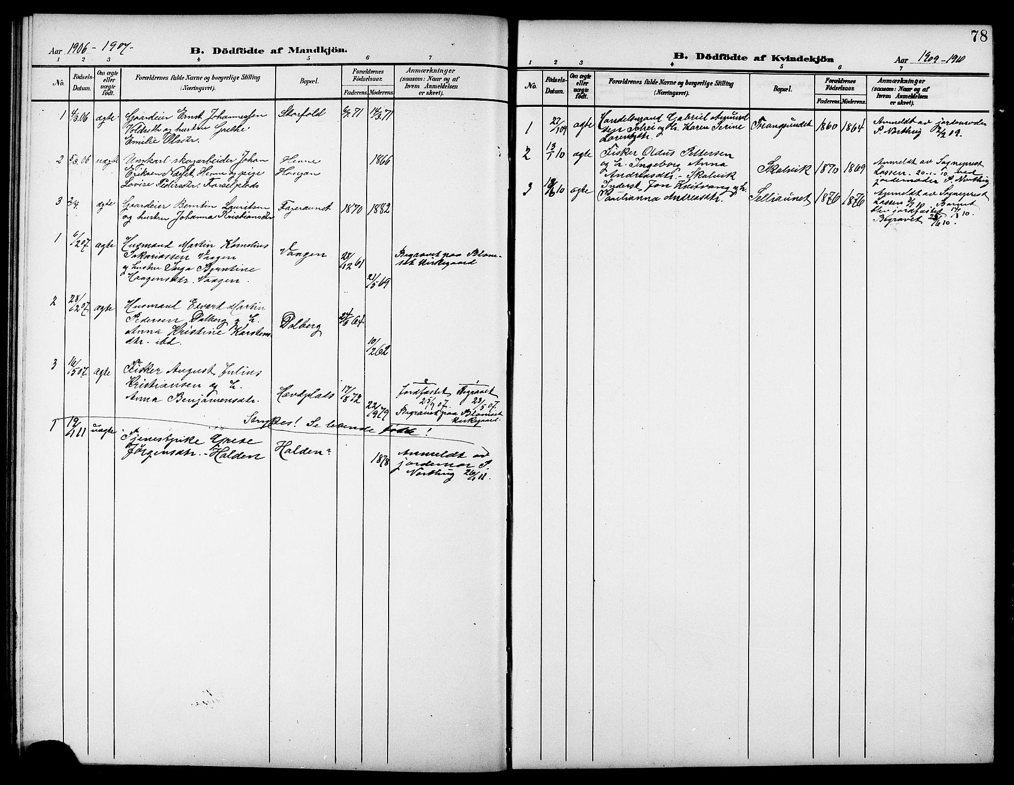 SAT, Ministerialprotokoller, klokkerbøker og fødselsregistre - Nord-Trøndelag, 744/L0424: Klokkerbok nr. 744C03, 1906-1923, s. 78