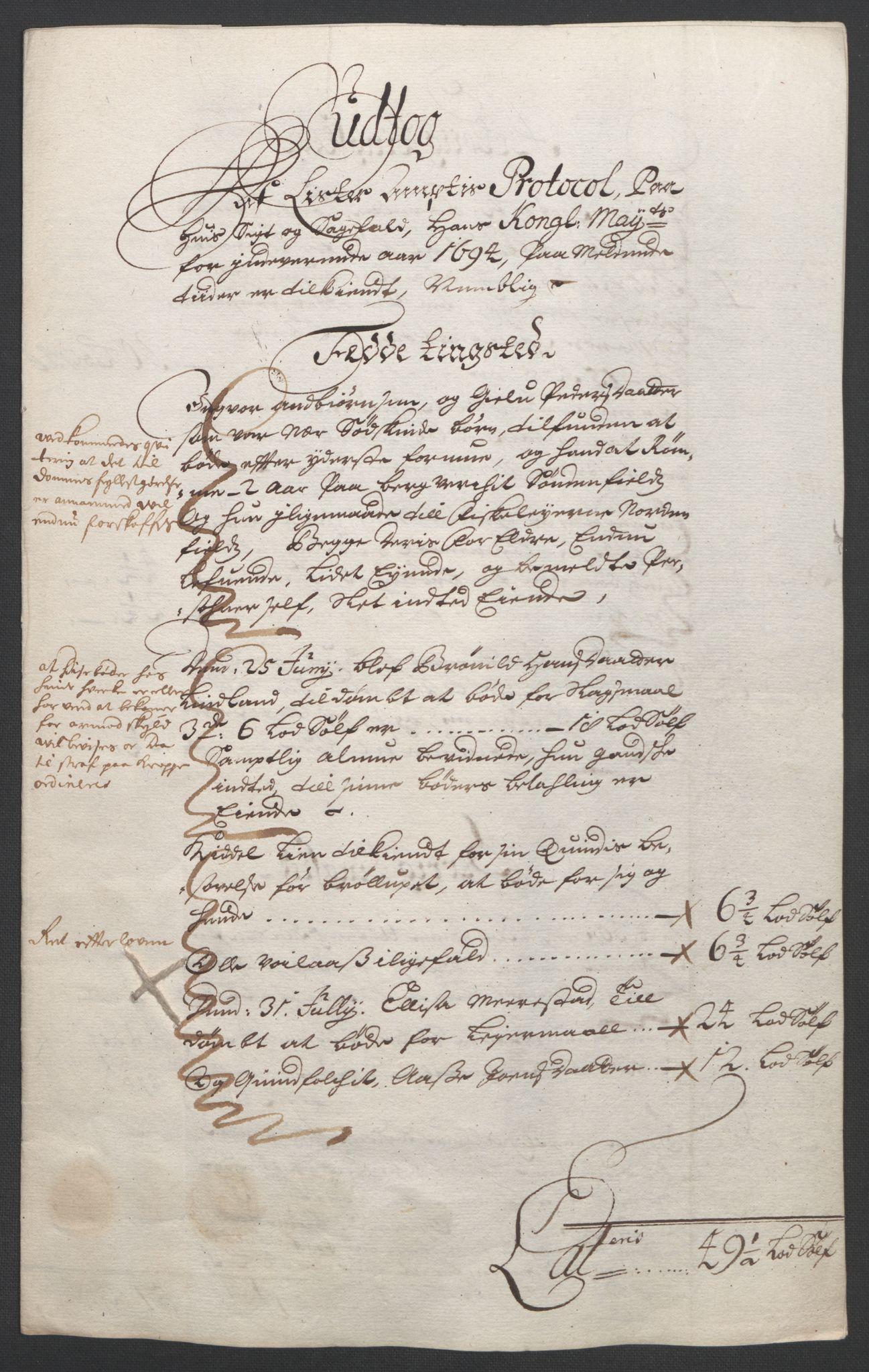 RA, Rentekammeret inntil 1814, Reviderte regnskaper, Fogderegnskap, R43/L2545: Fogderegnskap Lista og Mandal, 1694-1695, s. 44