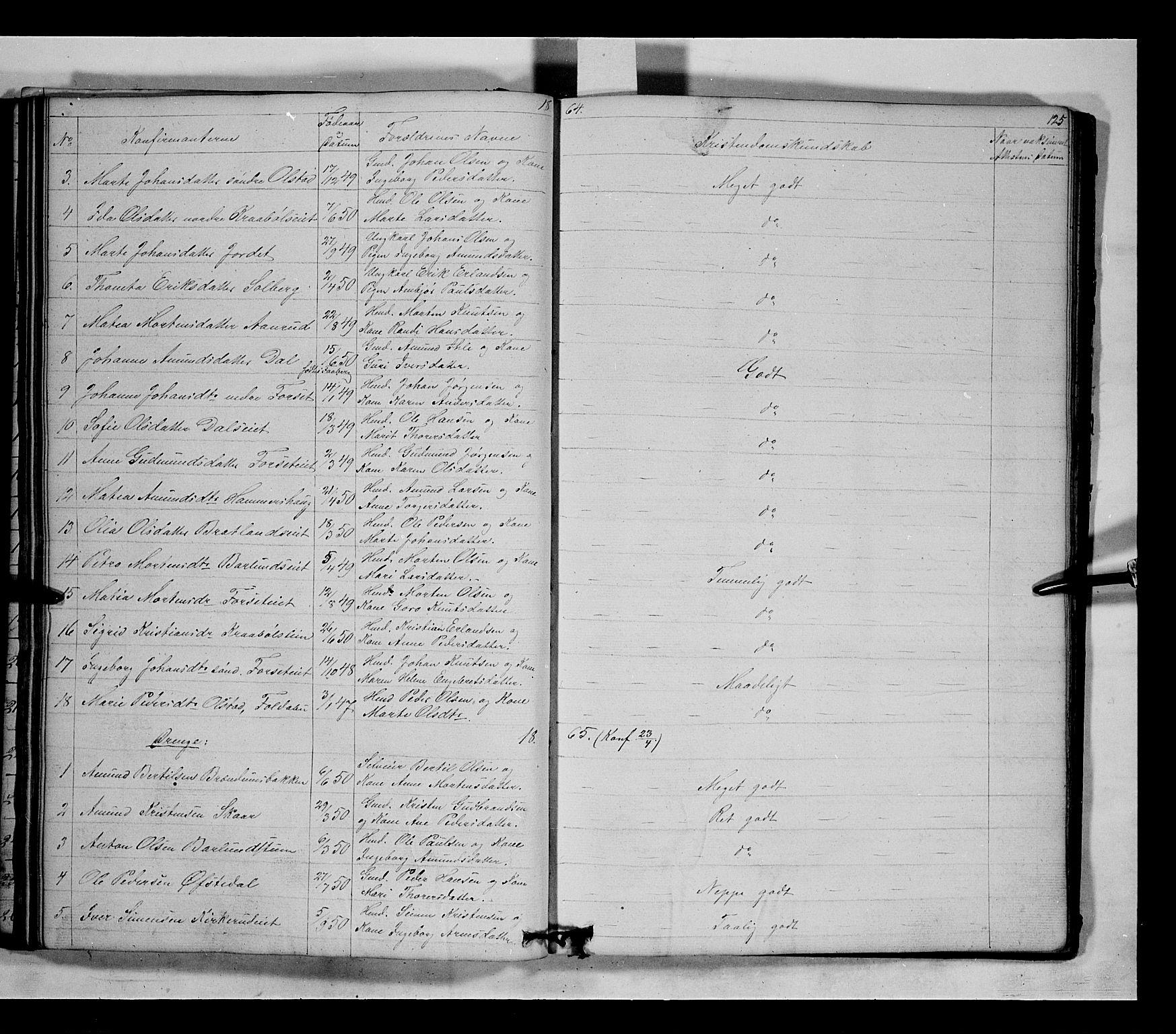 SAH, Gausdal prestekontor, Klokkerbok nr. 5, 1846-1867, s. 125