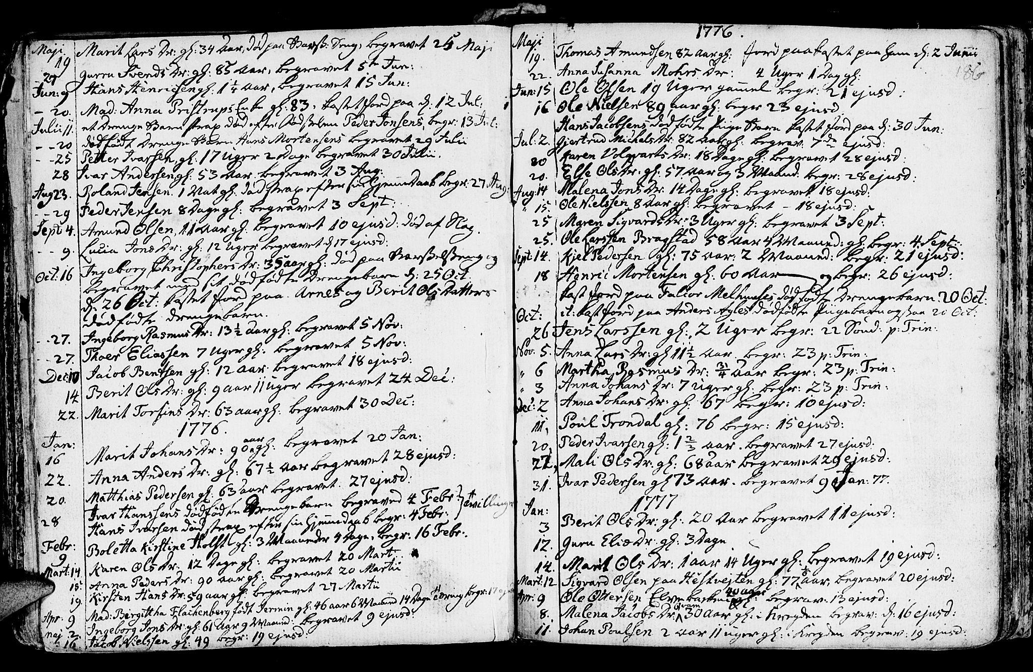 SAT, Ministerialprotokoller, klokkerbøker og fødselsregistre - Nord-Trøndelag, 730/L0273: Ministerialbok nr. 730A02, 1762-1802, s. 186