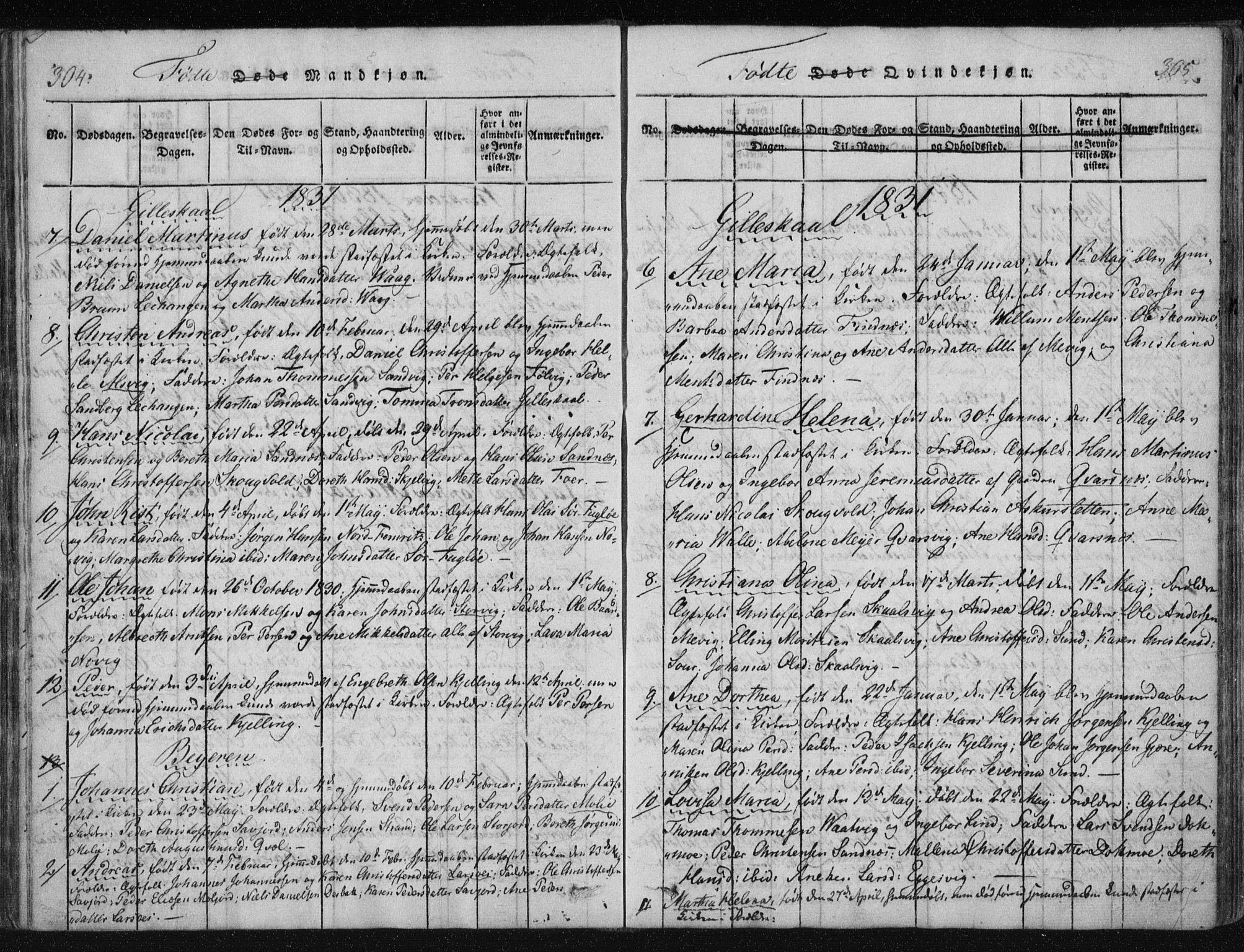SAT, Ministerialprotokoller, klokkerbøker og fødselsregistre - Nordland, 805/L0096: Ministerialbok nr. 805A03, 1820-1837, s. 304-305