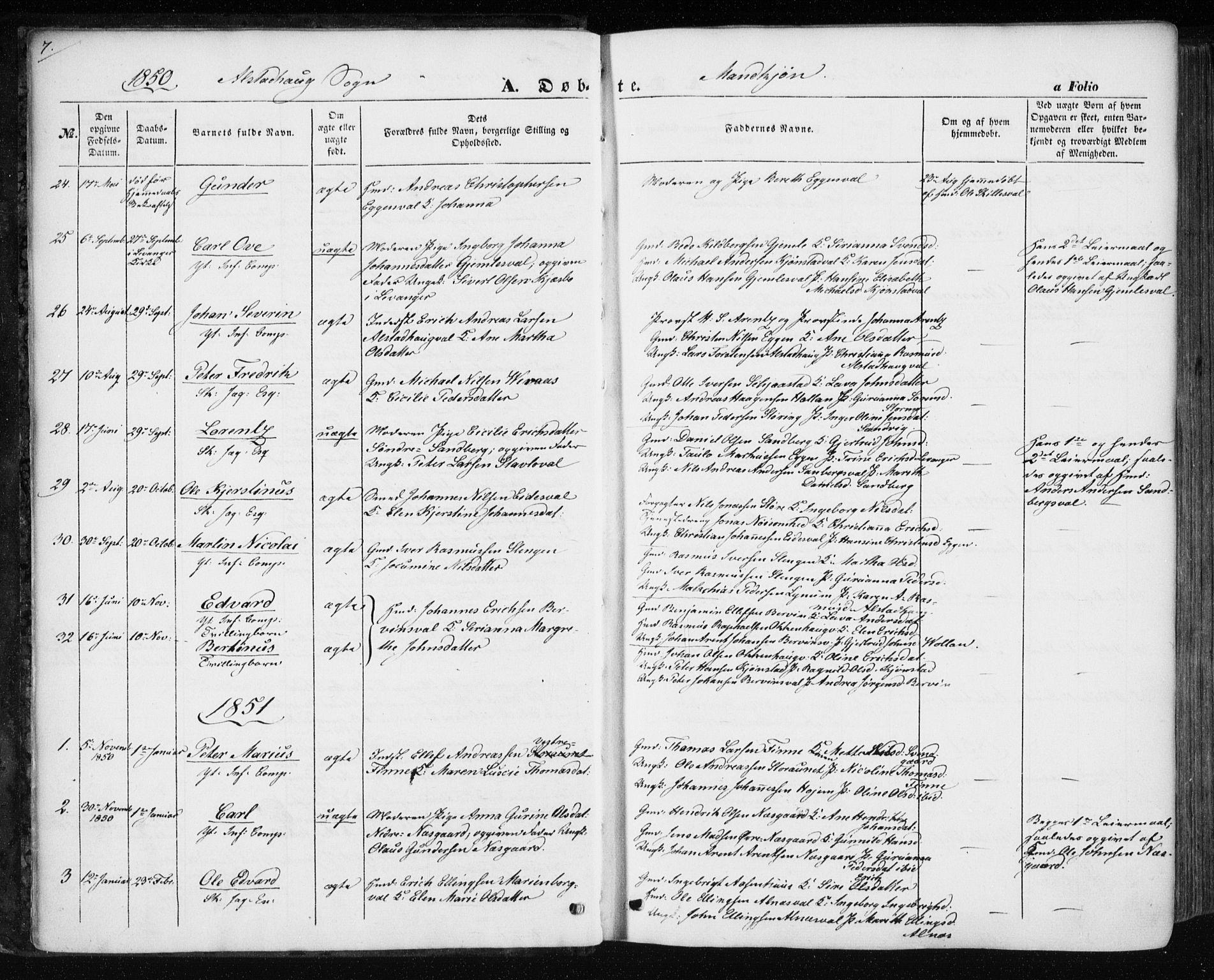SAT, Ministerialprotokoller, klokkerbøker og fødselsregistre - Nord-Trøndelag, 717/L0154: Ministerialbok nr. 717A07 /1, 1850-1862, s. 7