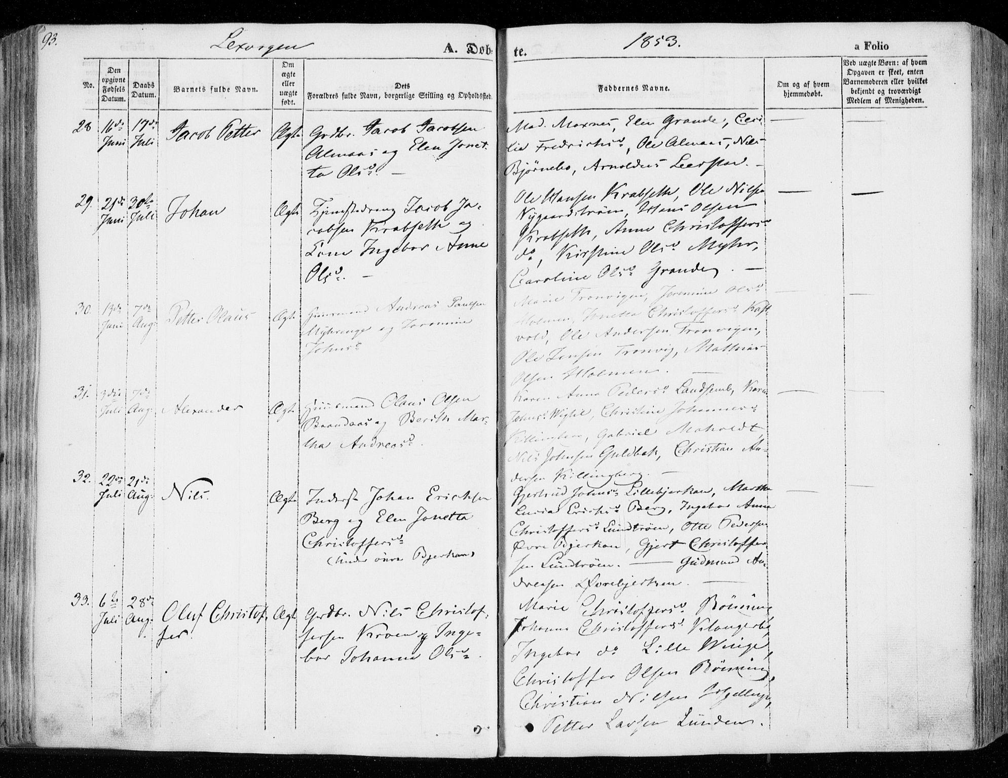 SAT, Ministerialprotokoller, klokkerbøker og fødselsregistre - Nord-Trøndelag, 701/L0007: Ministerialbok nr. 701A07 /1, 1842-1854, s. 93
