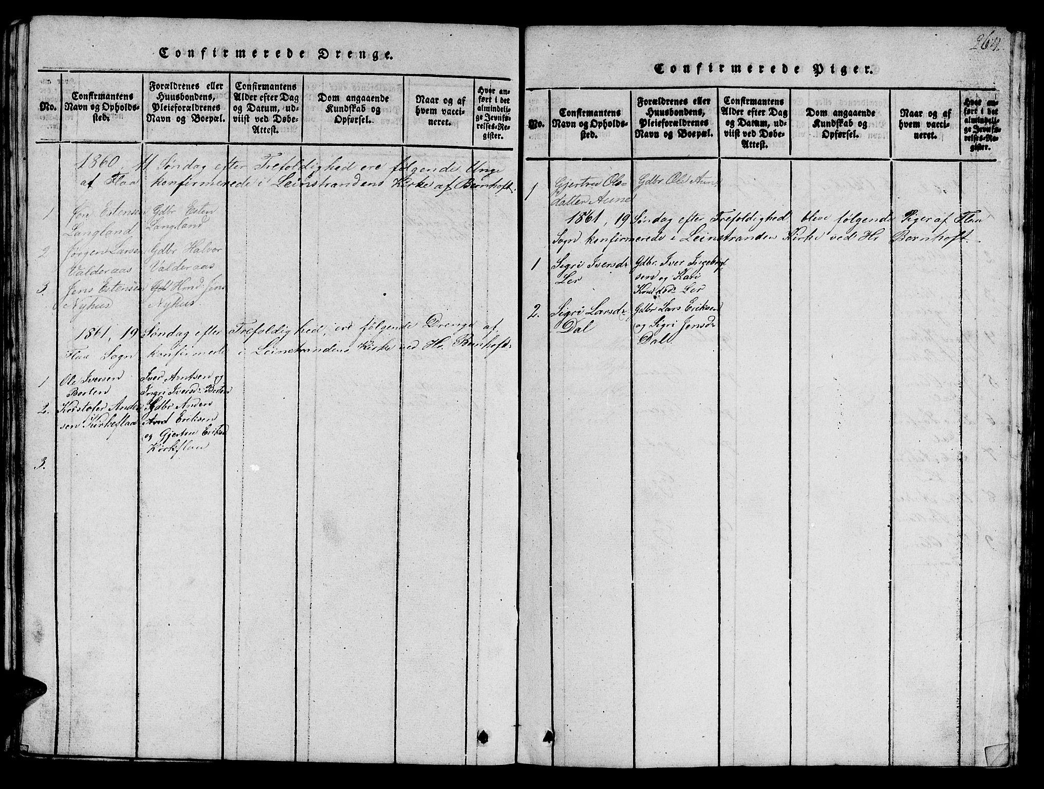 SAT, Ministerialprotokoller, klokkerbøker og fødselsregistre - Sør-Trøndelag, 693/L1121: Klokkerbok nr. 693C02, 1816-1869, s. 264