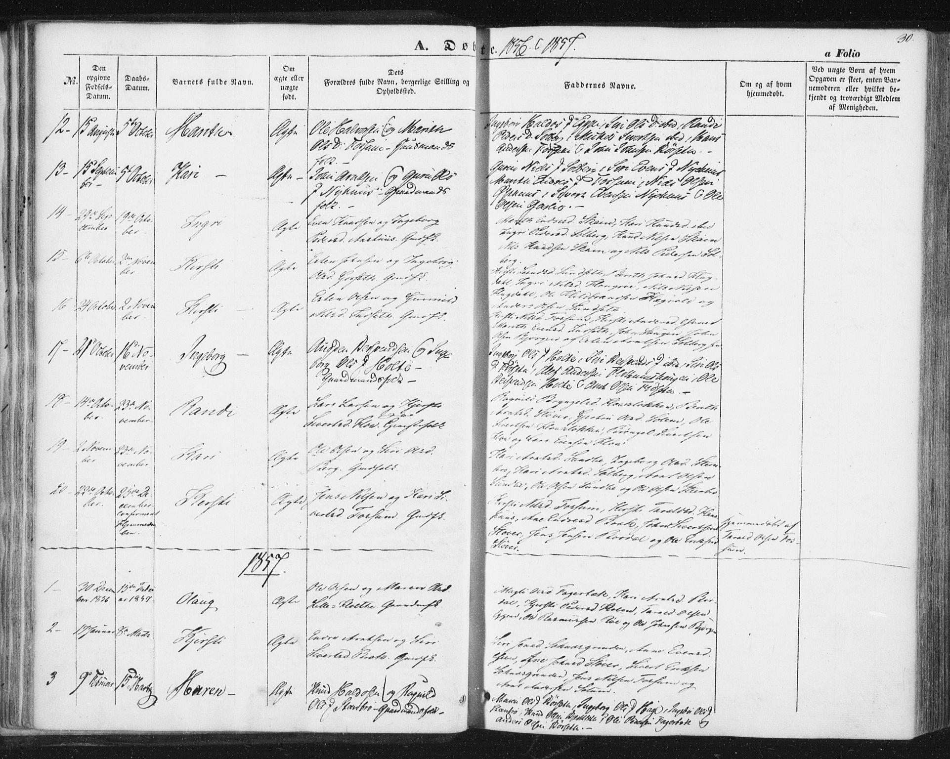 SAT, Ministerialprotokoller, klokkerbøker og fødselsregistre - Sør-Trøndelag, 689/L1038: Ministerialbok nr. 689A03, 1848-1872, s. 30