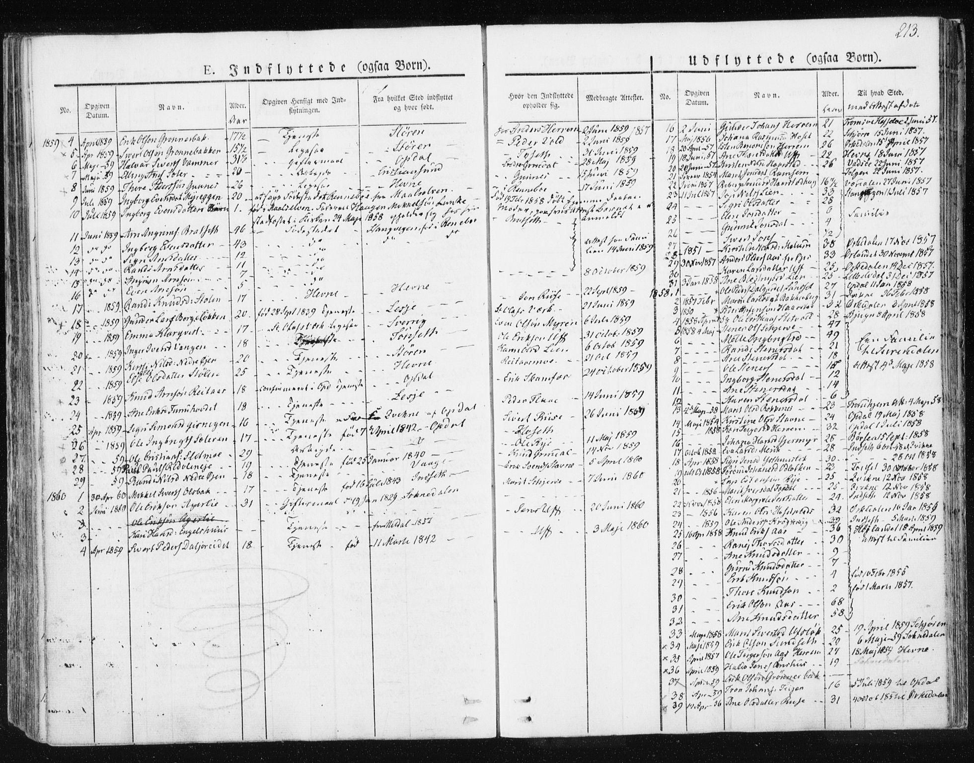 SAT, Ministerialprotokoller, klokkerbøker og fødselsregistre - Sør-Trøndelag, 674/L0869: Ministerialbok nr. 674A01, 1829-1860, s. 213