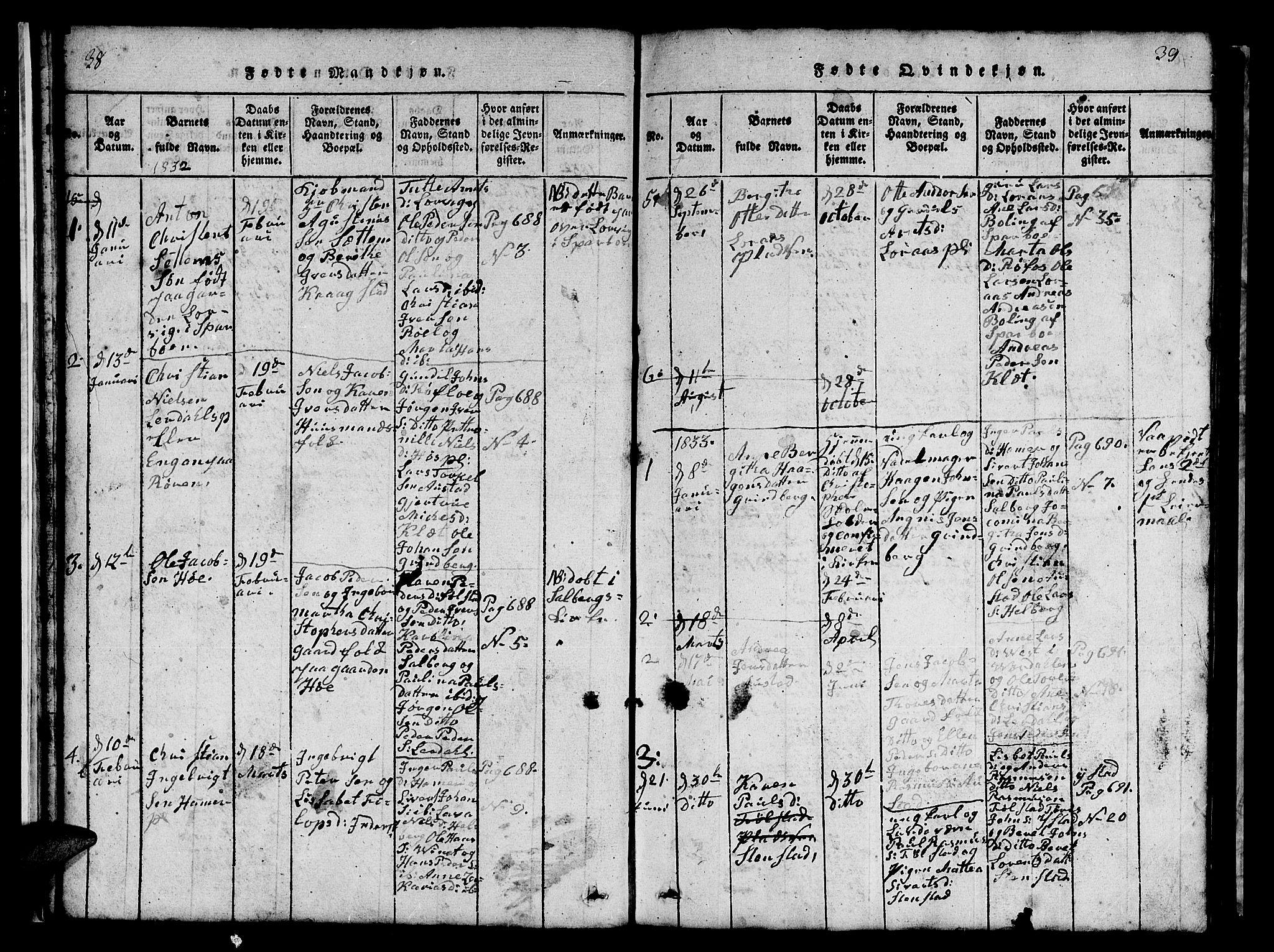 SAT, Ministerialprotokoller, klokkerbøker og fødselsregistre - Nord-Trøndelag, 731/L0310: Klokkerbok nr. 731C01, 1816-1874, s. 38-39