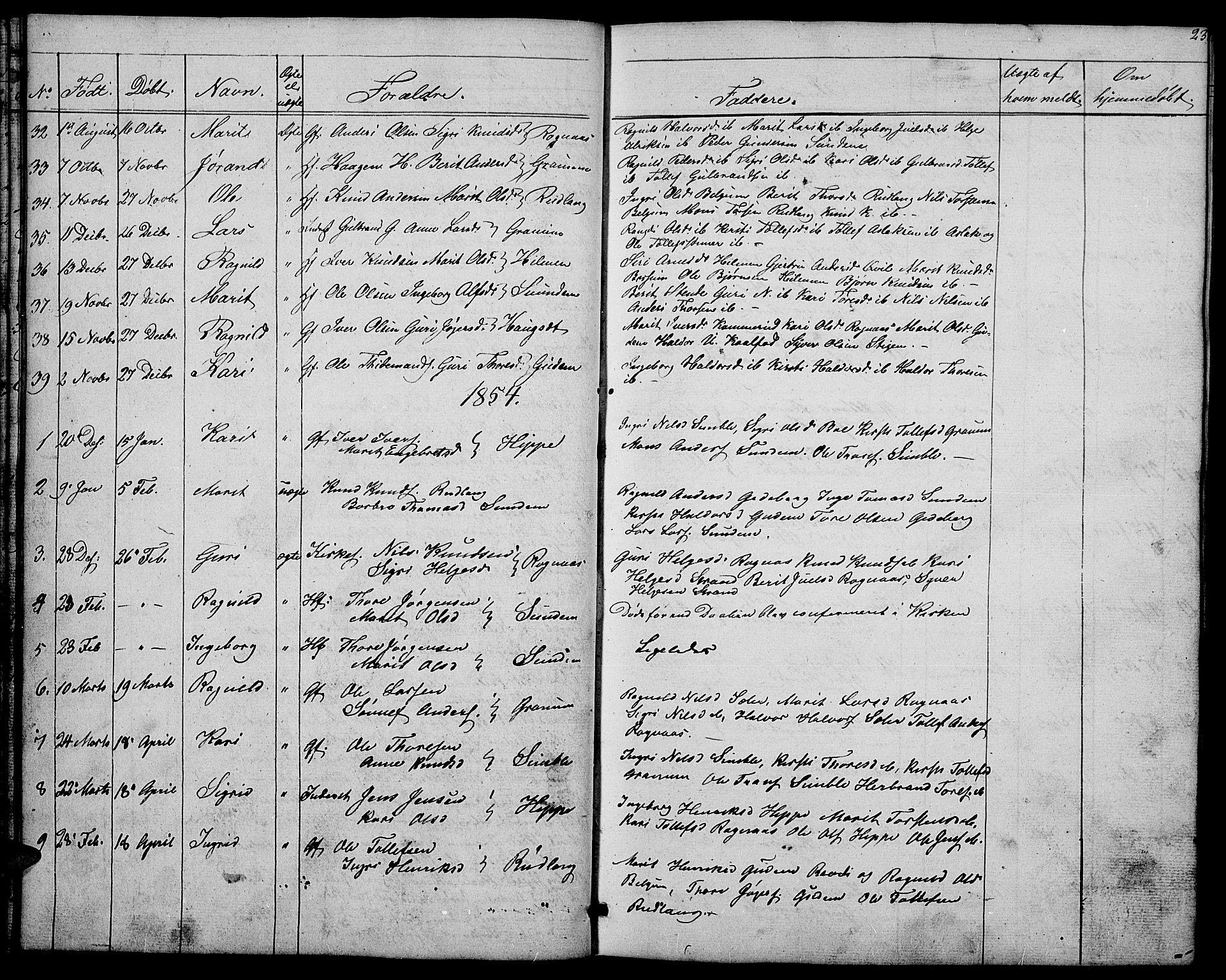 SAH, Nord-Aurdal prestekontor, Klokkerbok nr. 4, 1842-1882, s. 23